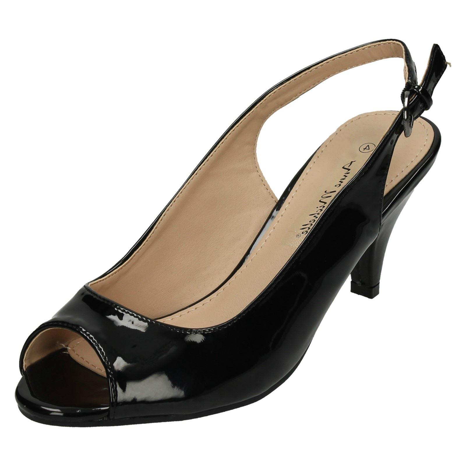Ladies Anne Michelle Mid Heel Peep Toe Sling Back Sandals F10592