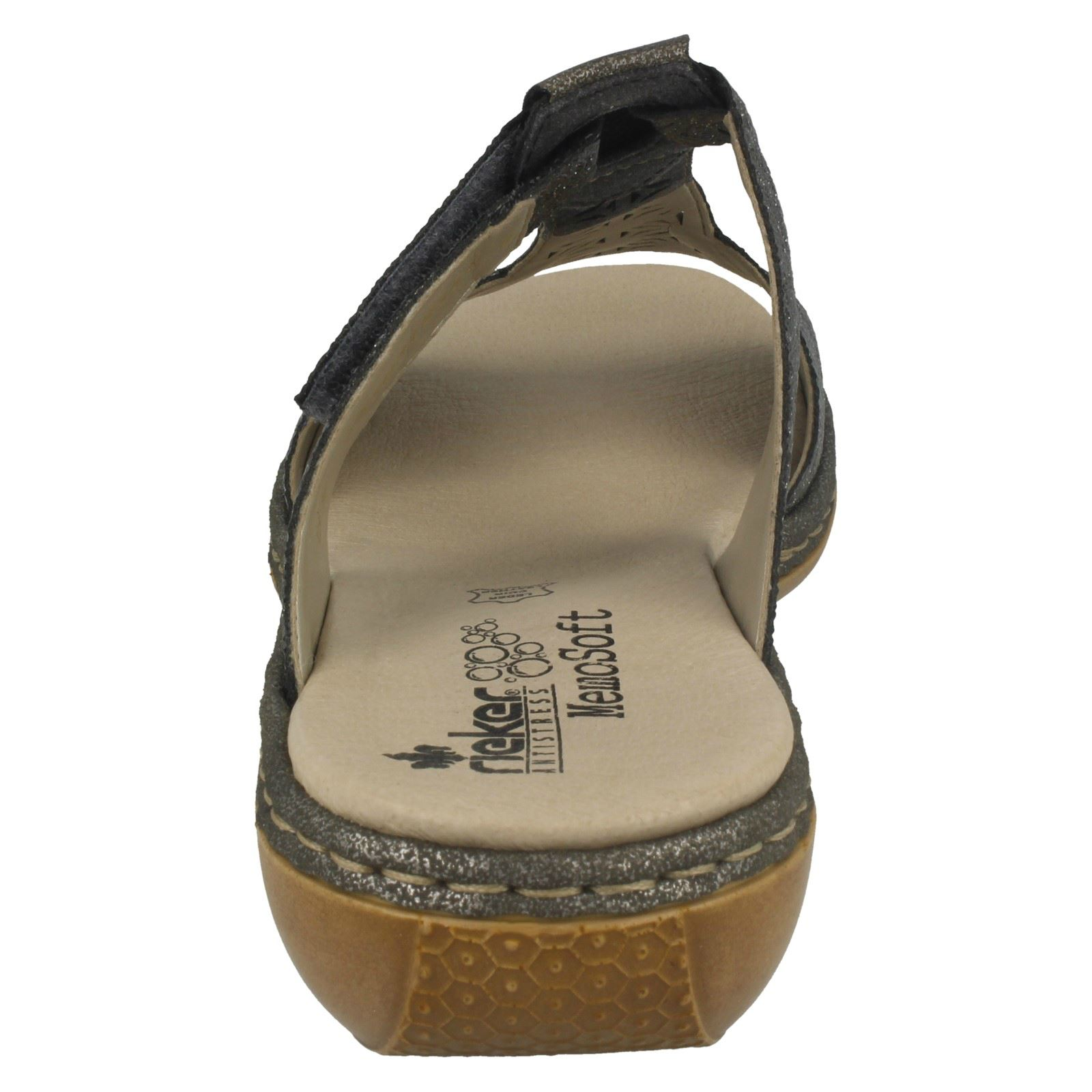 Diamante Loop Out platino Open Argento Toe Sandali Cut Hook Ladies sintetici Rieker 65950 argento nx4STwqa