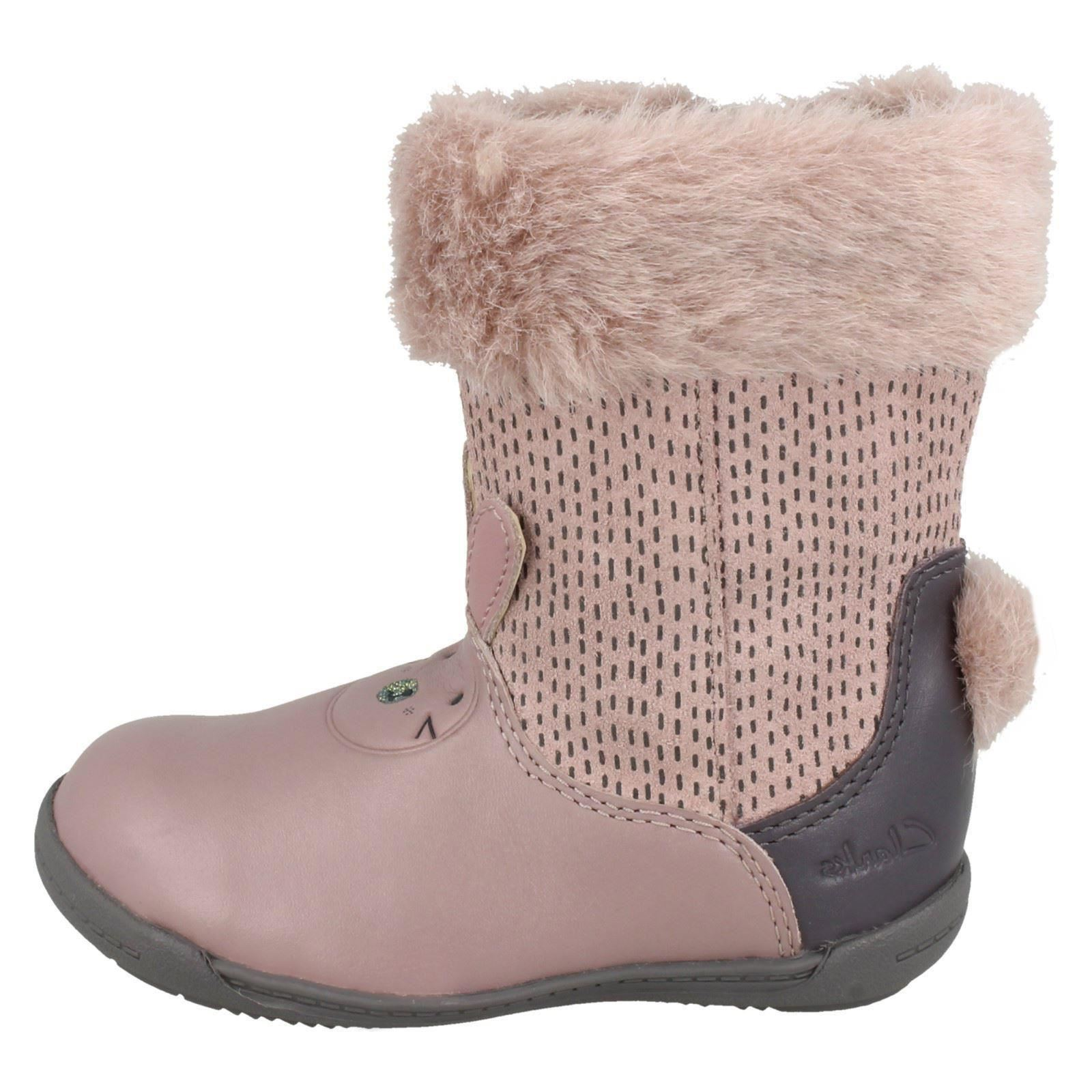 Iva Detalle rosa Infant Zip Dusty Dentro Clarks Time Conejo Casual gamuza Girls Pink Cuero de botas de qq74f
