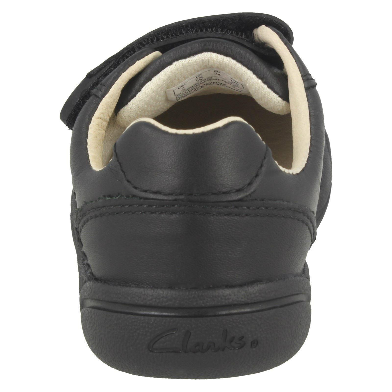 Chicos Clarks Cuero Doble Hook & Loop Riptape Escuela Zapatos-lilfolk Zoo