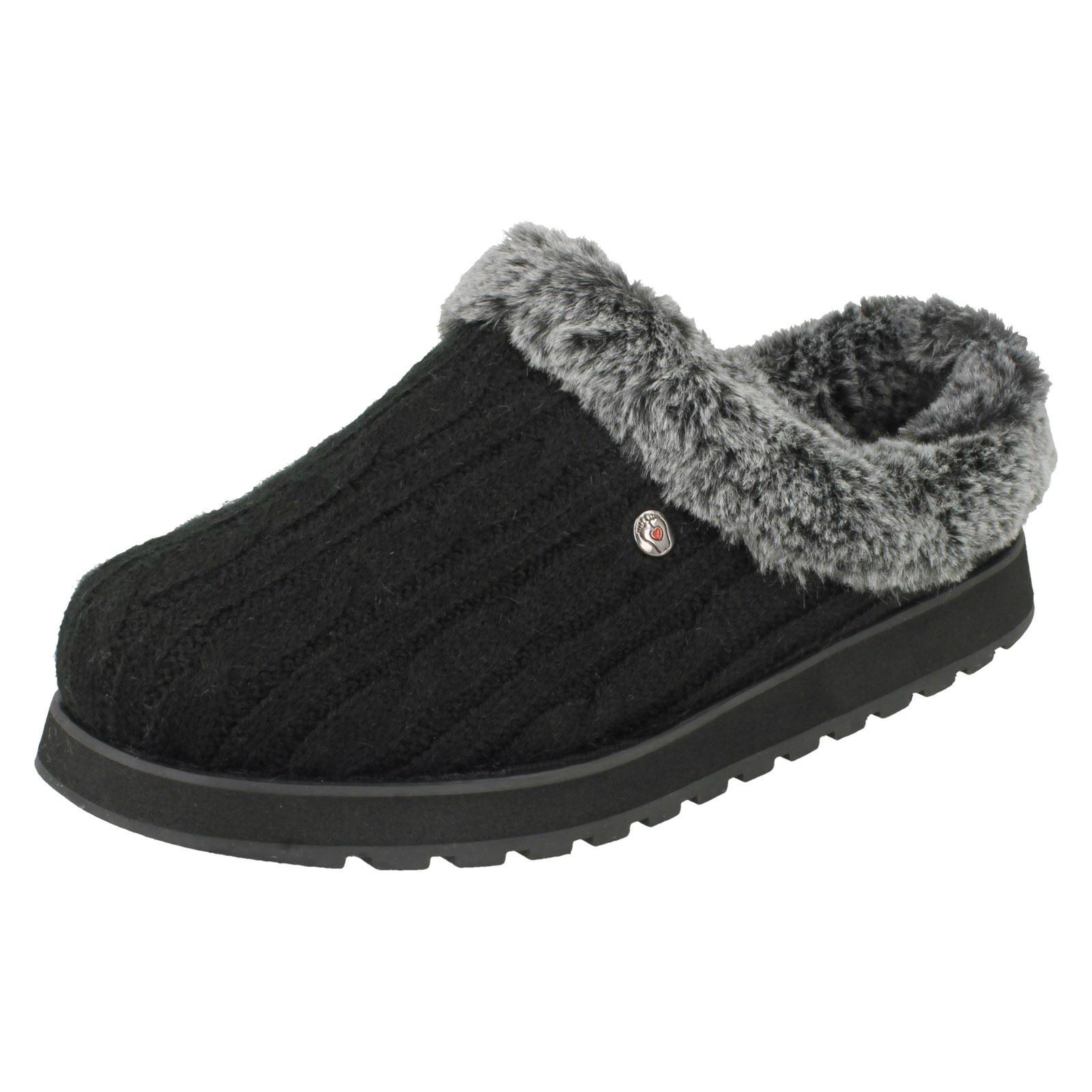 Kleidung & Accessoires Hausschuhe Ladies Bobs Skechers Ice Angel Slip On Memory Foam Indoor Winter Mule Slippers
