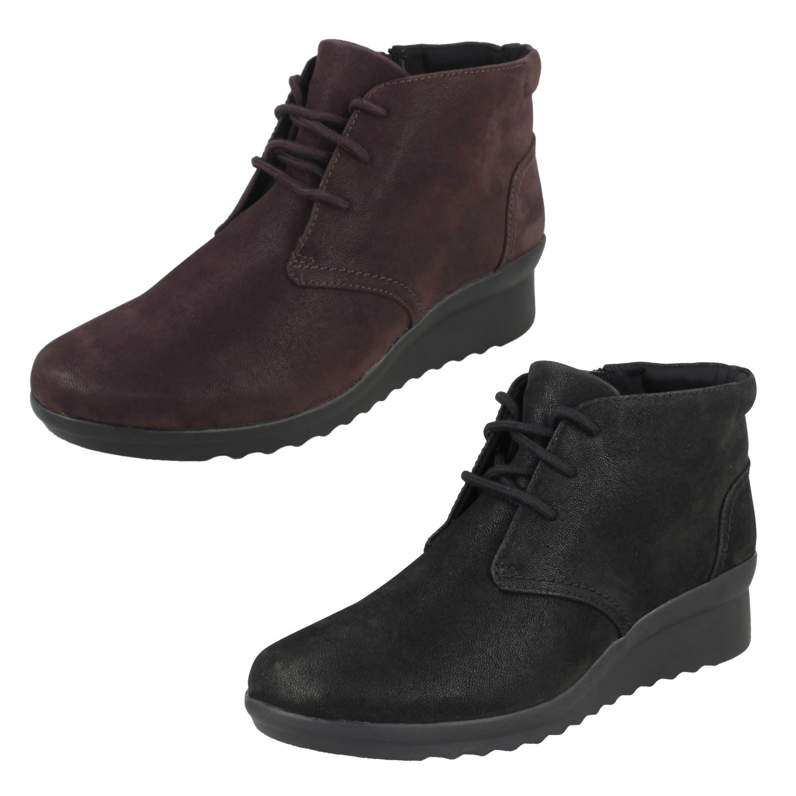 Ladies Clarks Cloudsteppers Casual Wide Fit Lace Up Wedged Boots Caddell Hop