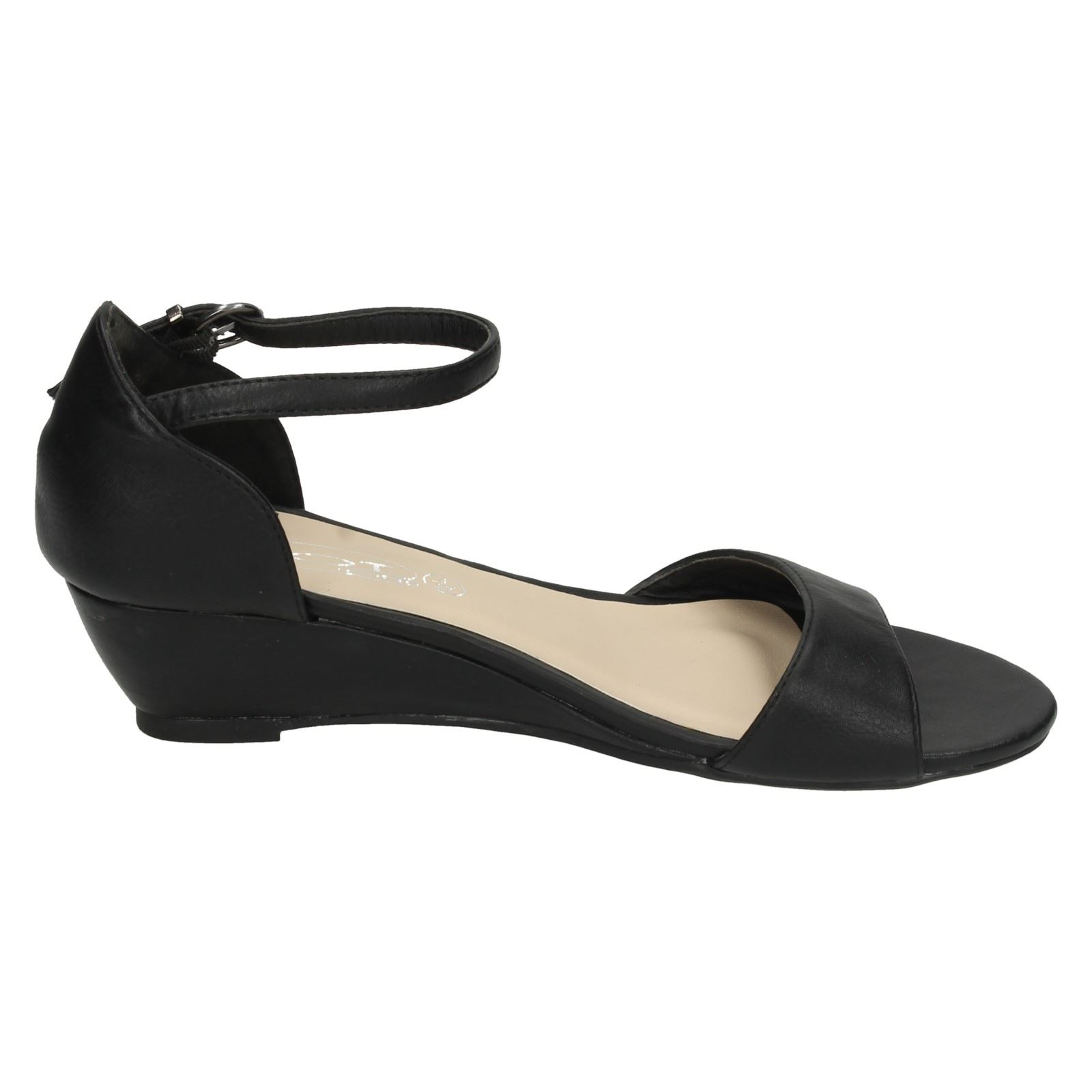 1f64d9b0573e Spot-On-Ladies-Low-Wedge-Ankle-Strap-Sandals thumbnail