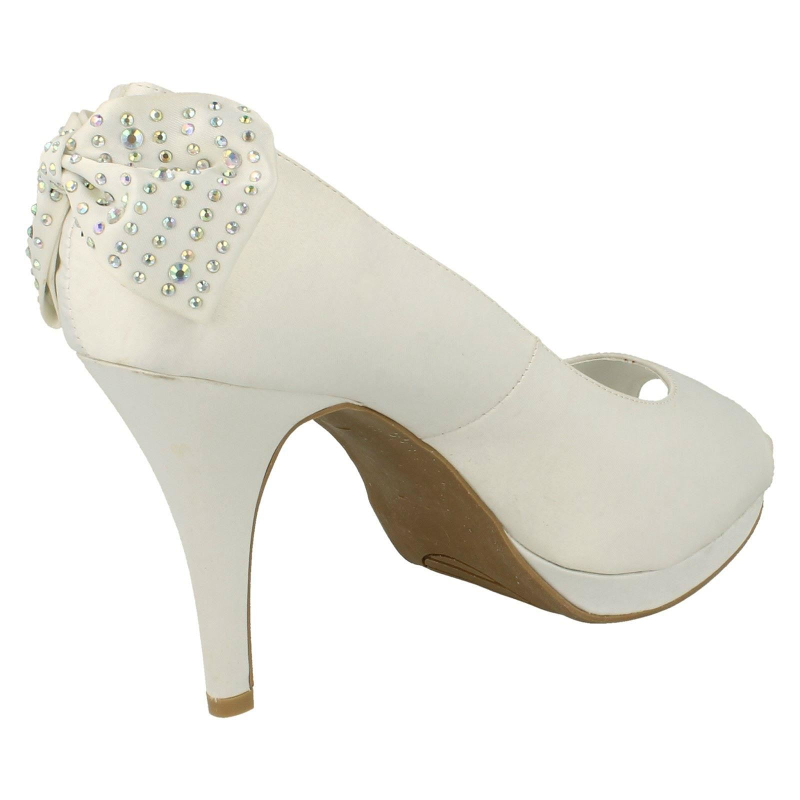 Ladies Anne Michelle Open Toe Back Bow Detail *Heels*