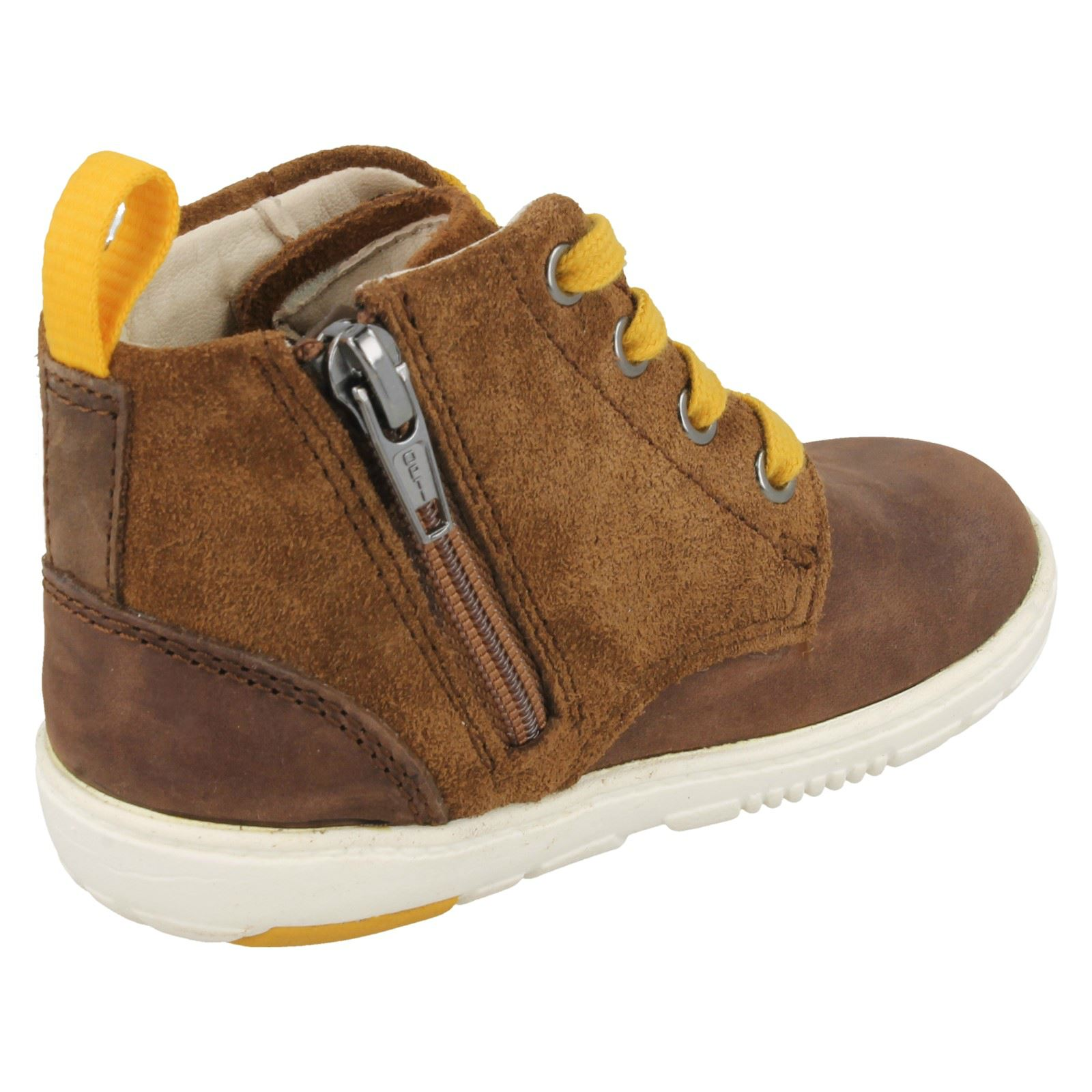 Boys Clarks Maxi Hehe Fst Brown Or Navy Leather Lace Up Ankle Boots F /& G Widths