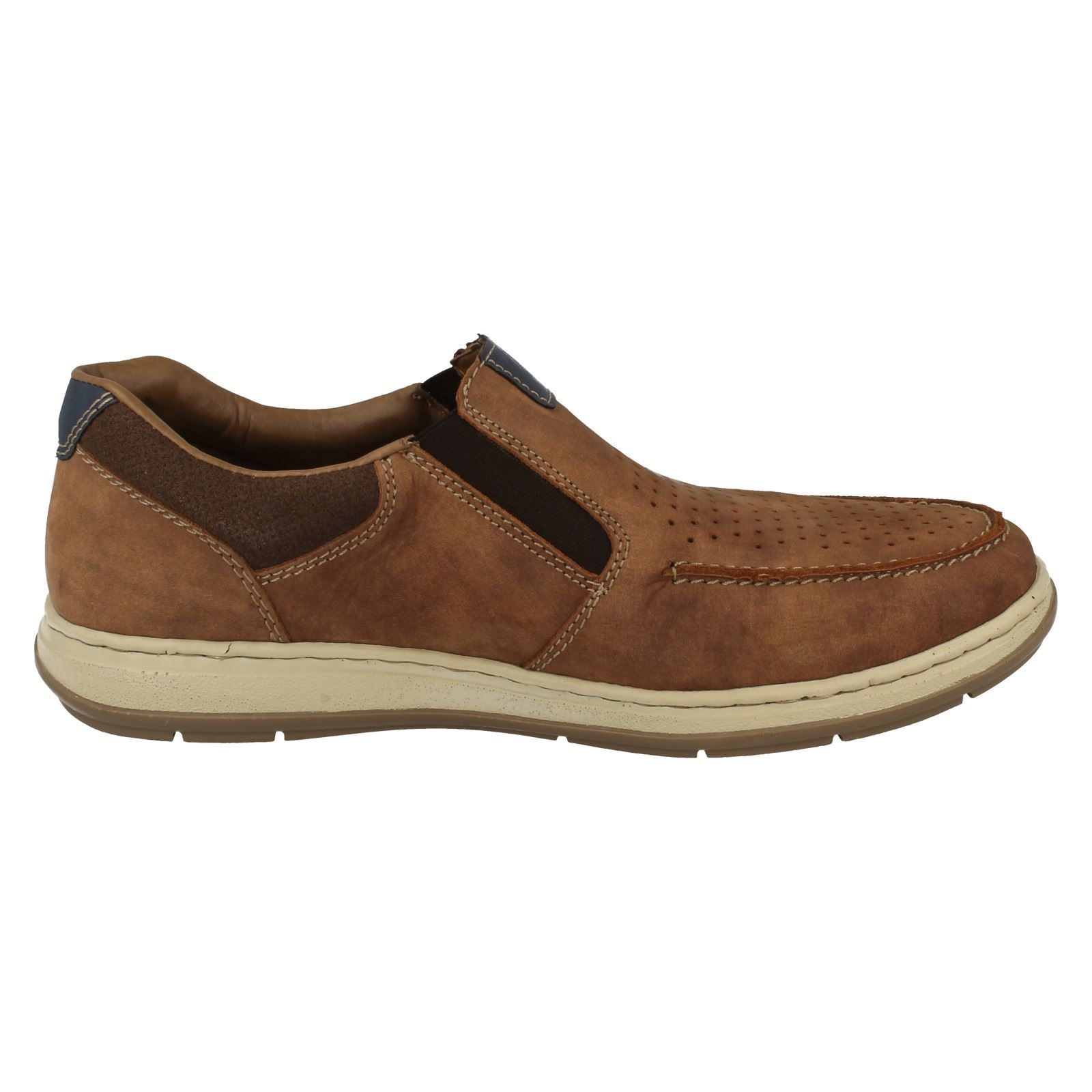 Details zu Mens Rieker Moccasin Style Slip On Shoes 17367