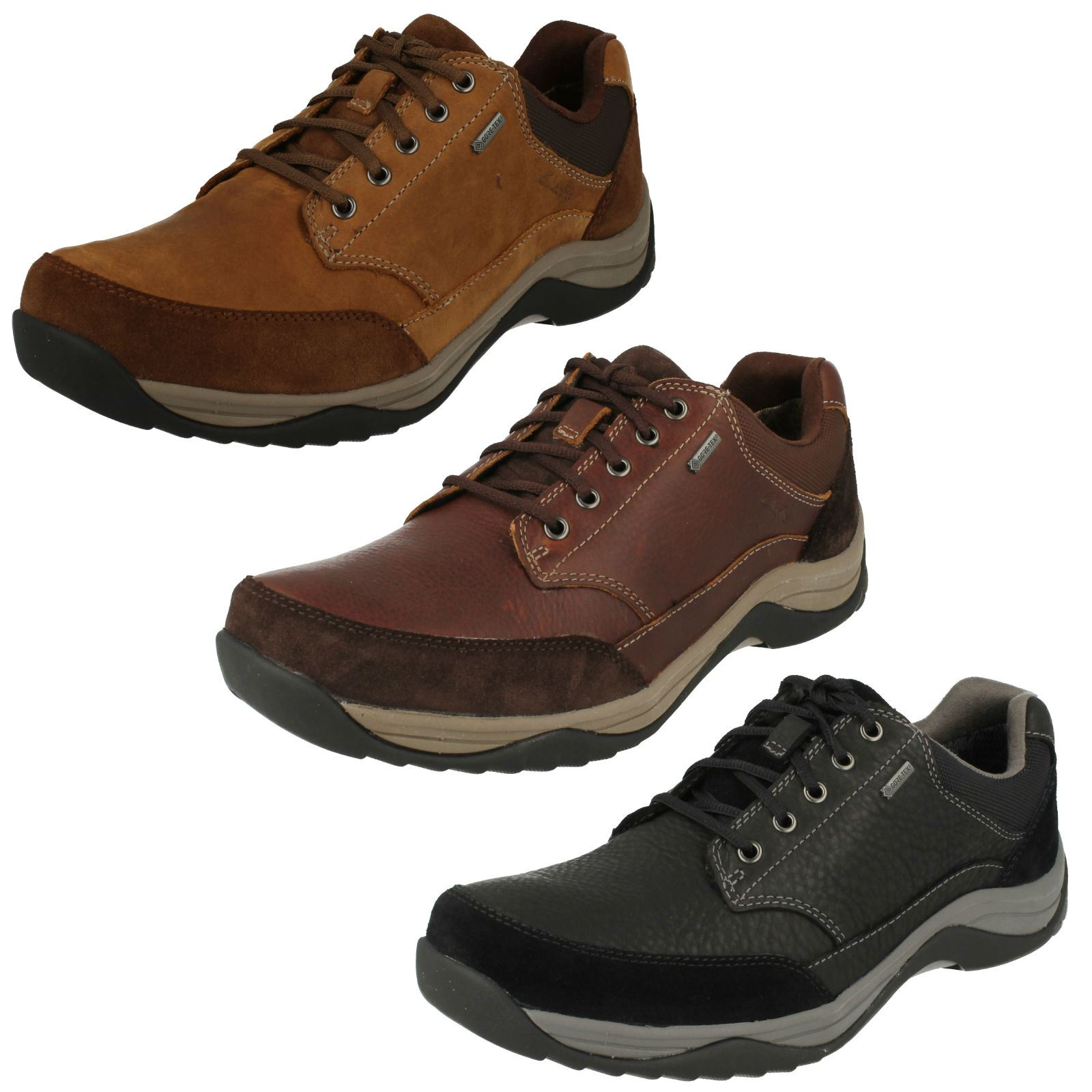 mens clarks tex lace up leather shoes baystonego
