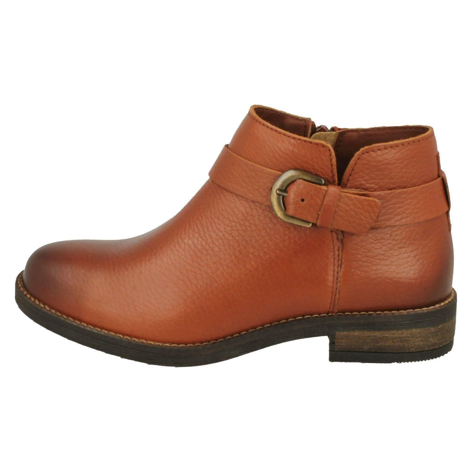 Ladies Clarks Buckle Detailed Ankle Boots Demi Tone