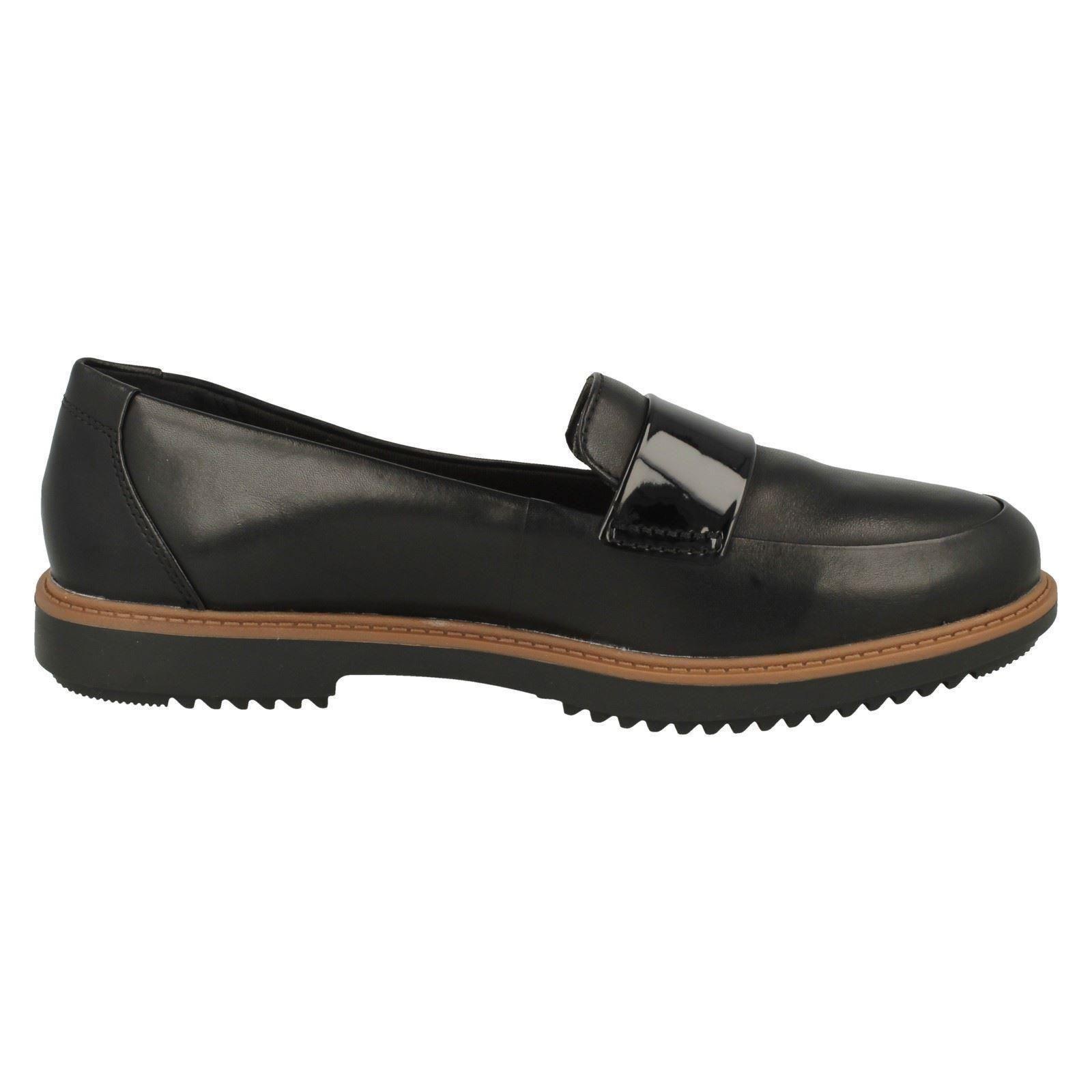 Damas-Clarks-Mocasin-Estilo-Plano-Sin-Cordones-De-Cuero-Zapatos-Raisie-Drink