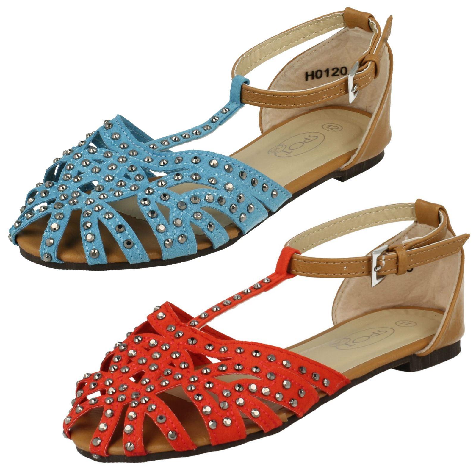 Girls Spot On T-Bar Diamante /'Sandals/'