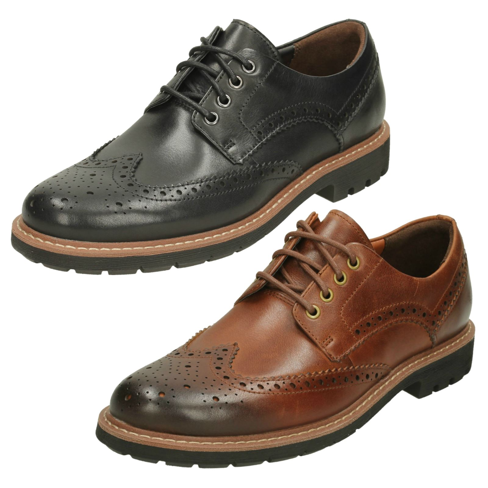 Up Uomo Clarks Formal Lace Up  Leder Brogues Batcombe Wing 13039e