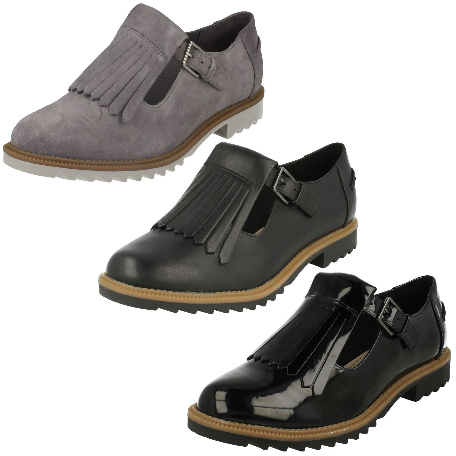Ladies Clarks T-Bar Buckled Wedge Heel Soft Leather Fringe Flats Griffin Mia