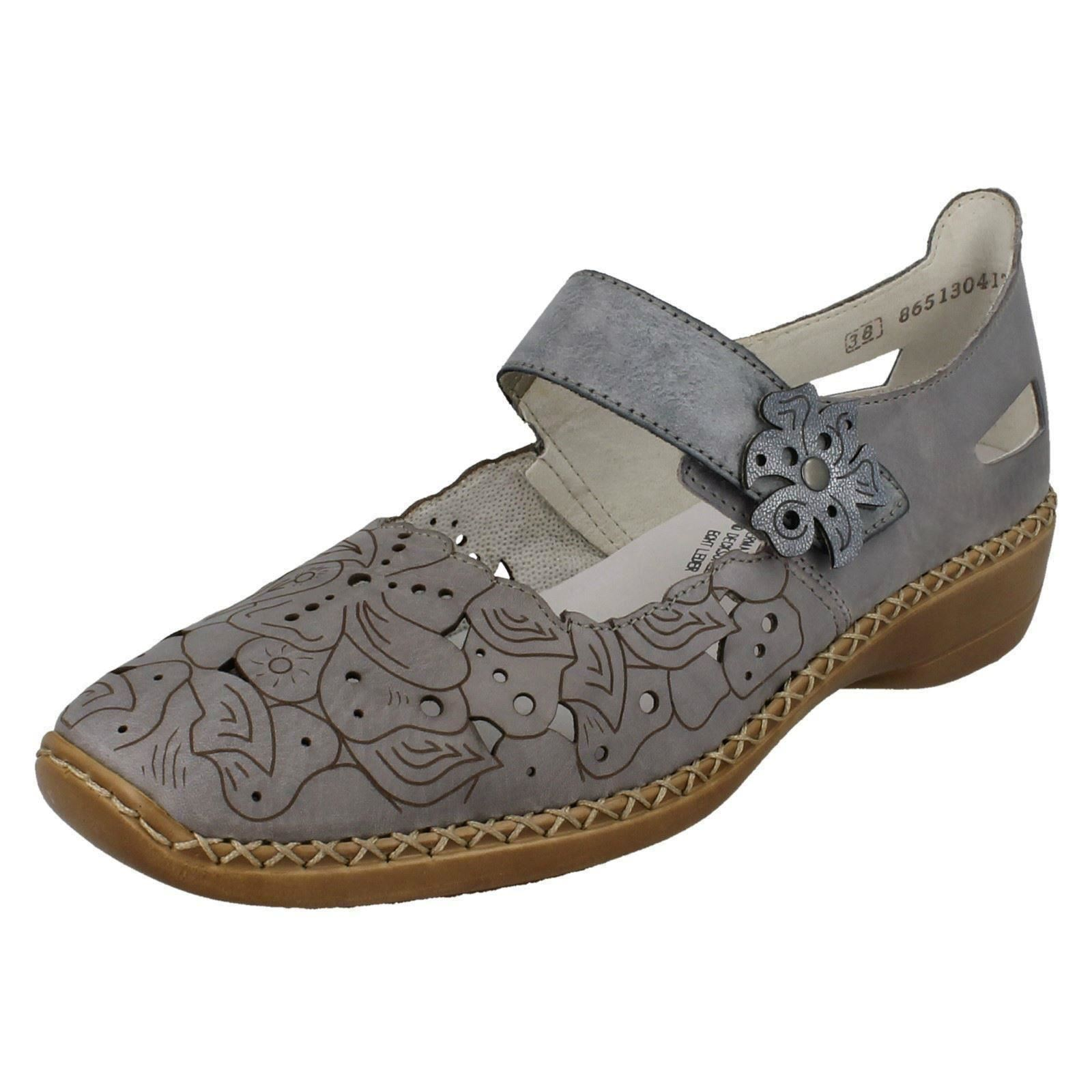 Details about Ladies Rieker Casual Flats With Floral Detail '41358'