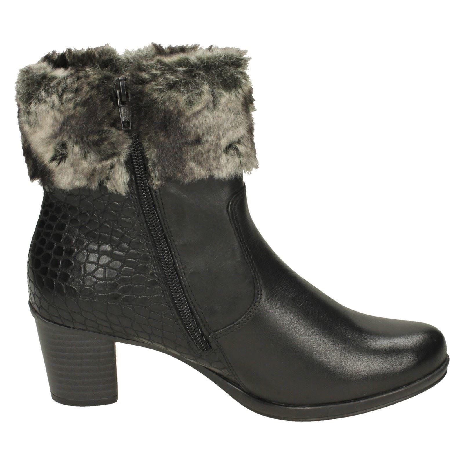 Ladies Remonte R1585 Faux Fur Cuff Ankle Ankle Ankle Boots e7fc28