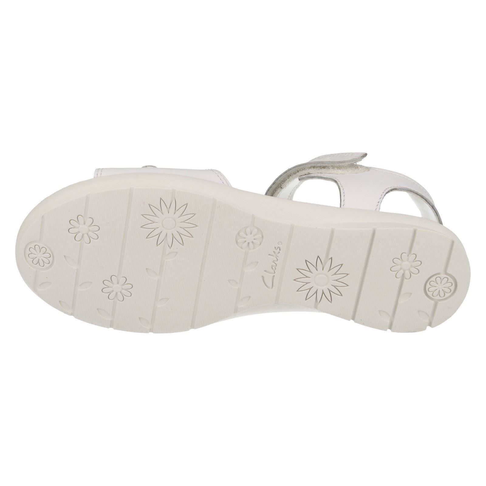 Girls Clarks Hook & Loop Riptape Leather Sandals With Flower Detail - Ziggy Days