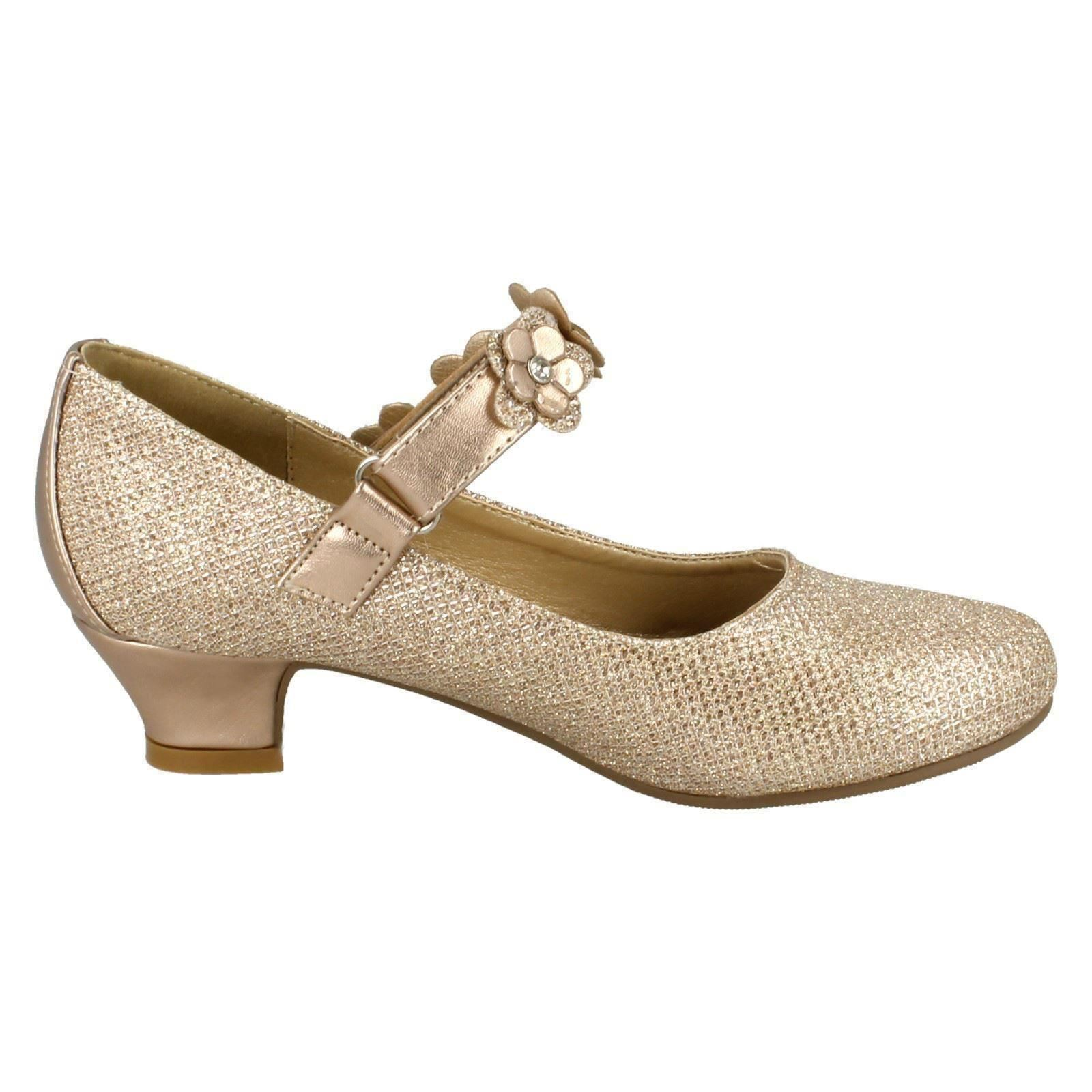 Girls Spot On Glittery Heel Party Shoes H3068