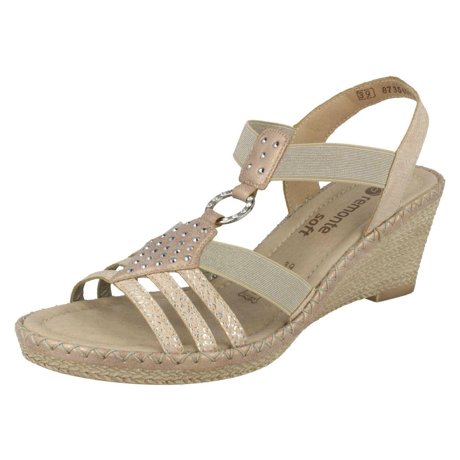 79d1e6c8226e Remonte Slip on Elasticated Wedge Heel Summer Sandals D6768-31 ...