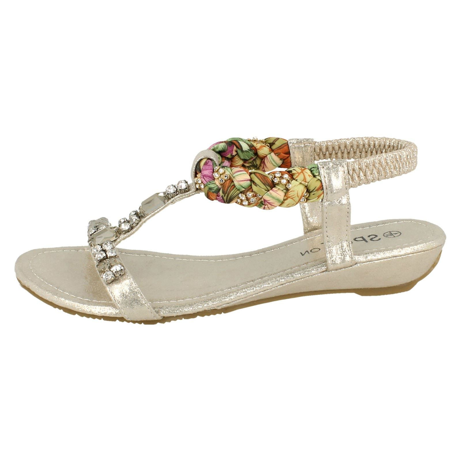 Ladies Spot On Open Toe Low Wedge Slip On Textile Jewelled Sandals F1R0746