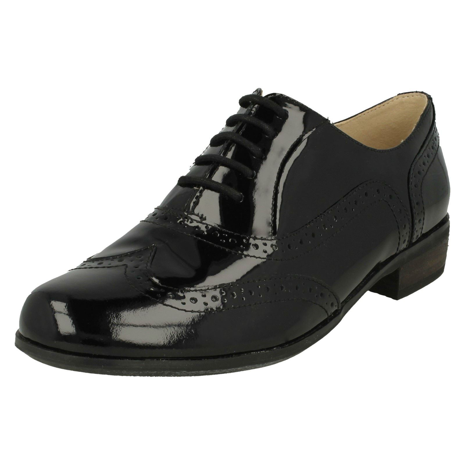 3b3b1398895 Ladies Clarks Lace up Smart Brogue Shoes Hamble Oak 3 UK Black Patent E.  About this product. Picture 1 of 10  Picture 2 of 10 ...