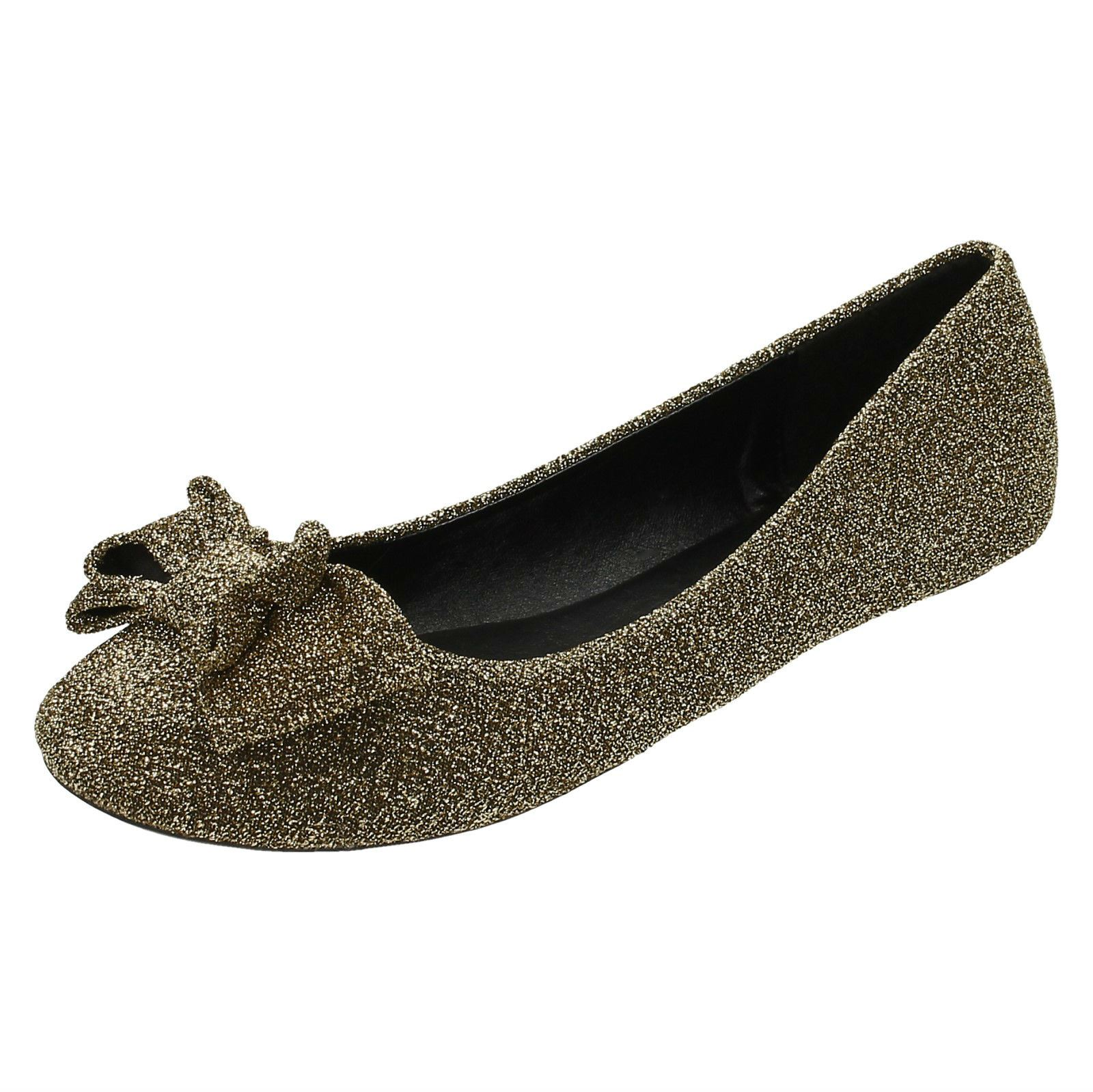 Damas Spot on Flat Sparkle Bailarina Zapatos