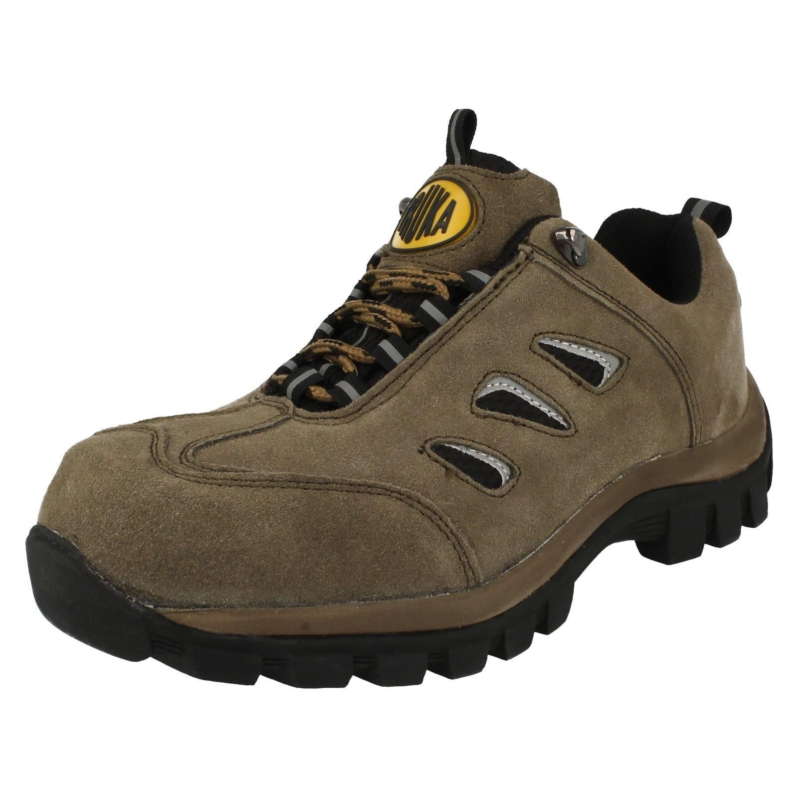 Mens Truka Khaki Suede Lace Up Steel Toe Cap Safety Shoes A2051