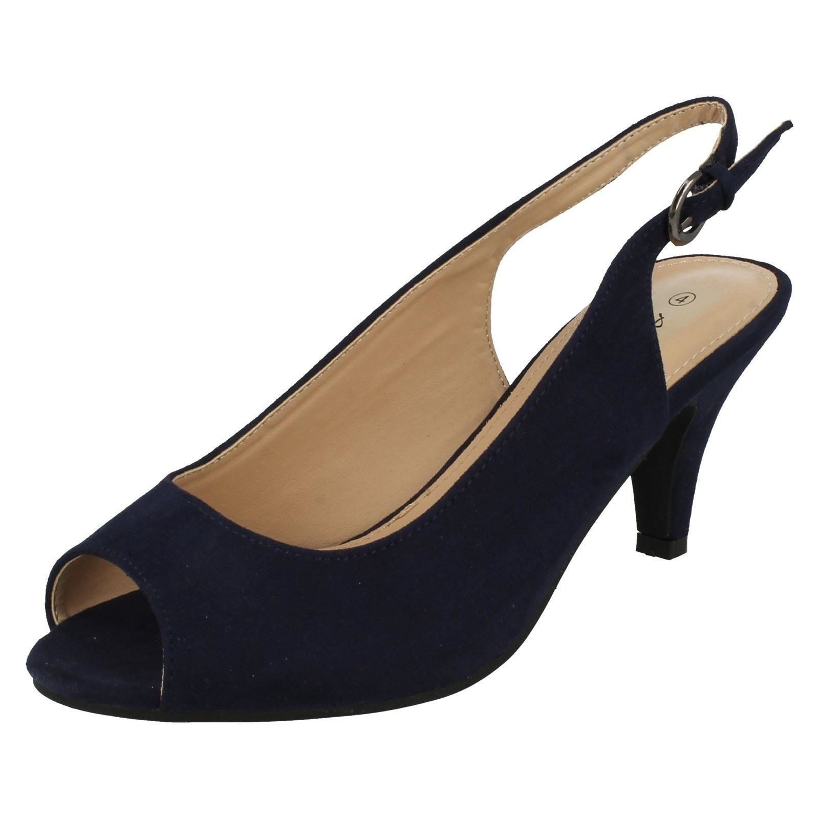 42365e20153a Ladies Anne Michelle PEEP Toe Sling Back Shoes F10593 UK 6 Navy Wide ...