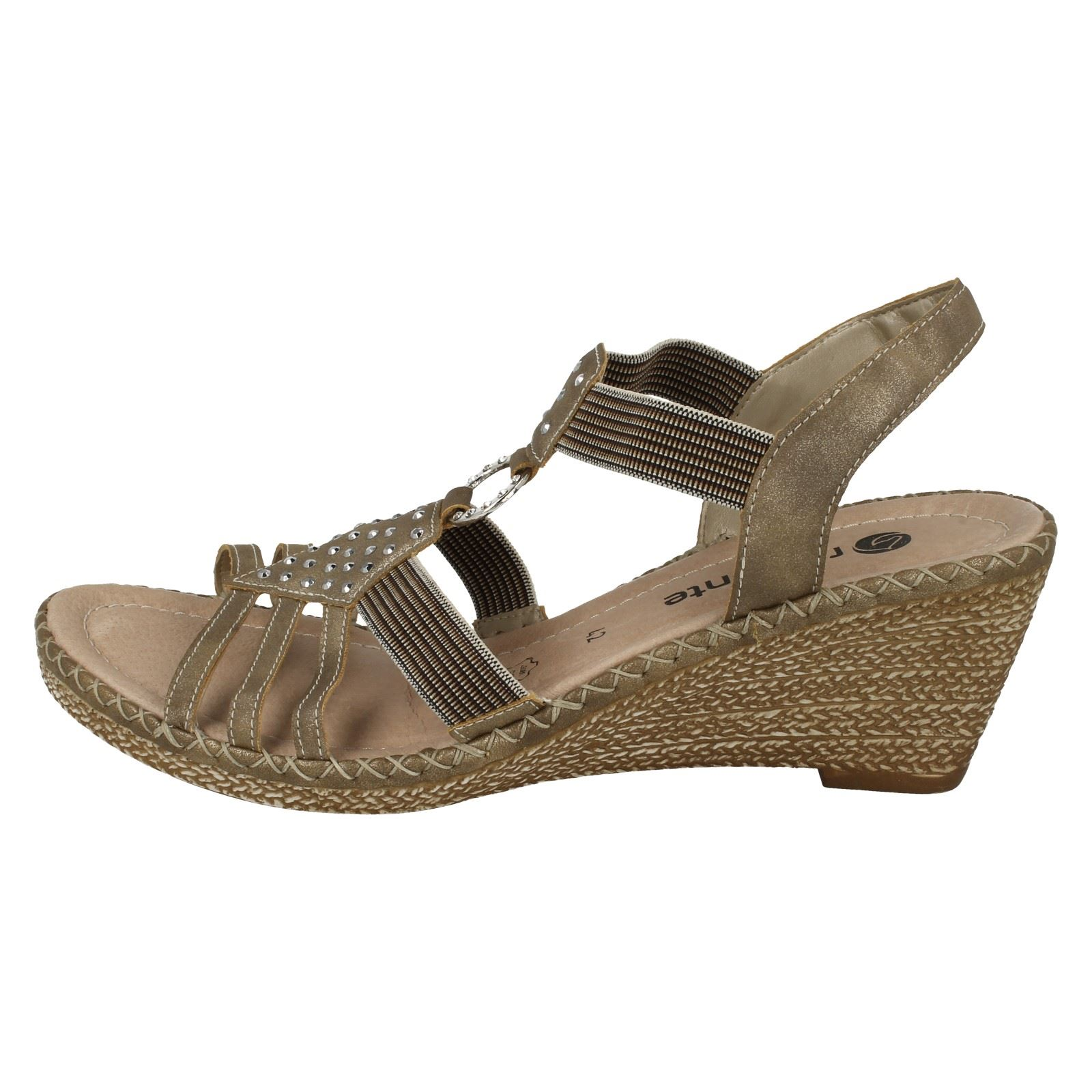 Ladies Remonte Open Open Open Toe Slingback Diamante Slip On Wedged Material Sandals D6768 acab69