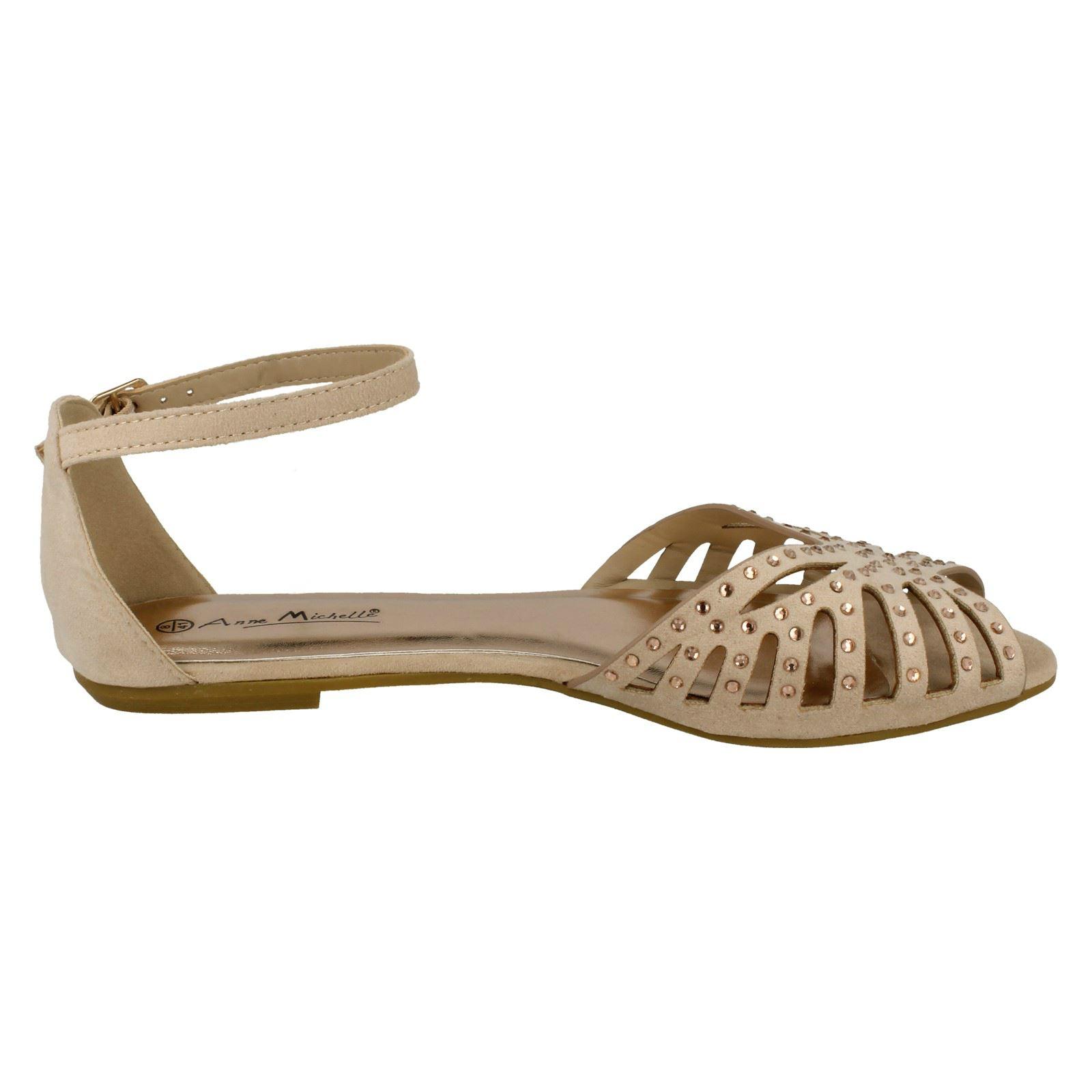 Sandalias Planas Diamante Embellecedor señoras de bambú L6750