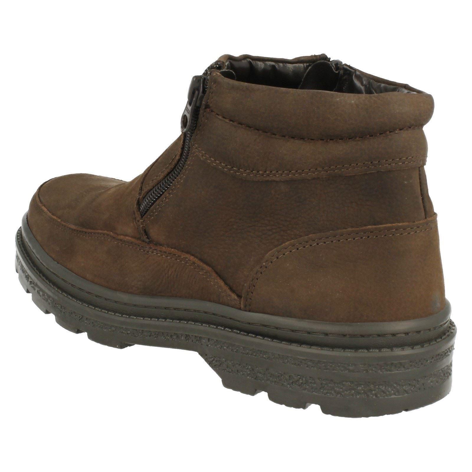 Mens Luca Mancini Brown Nubuck Zip Up Boots  LM2707E