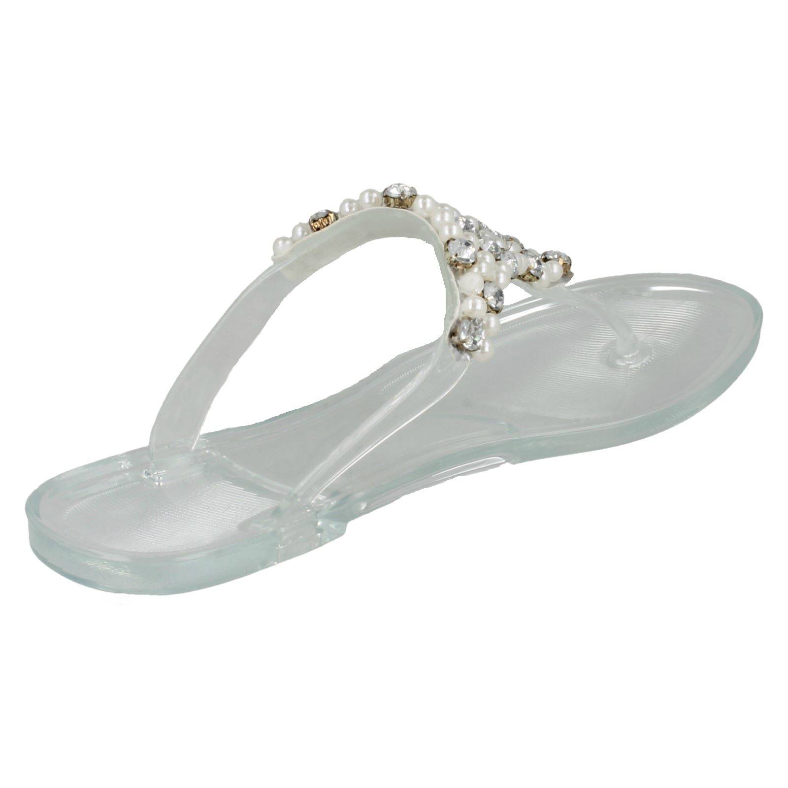 Ladies Spot On Flat Metallic Toe Post *Jelly Sandals*