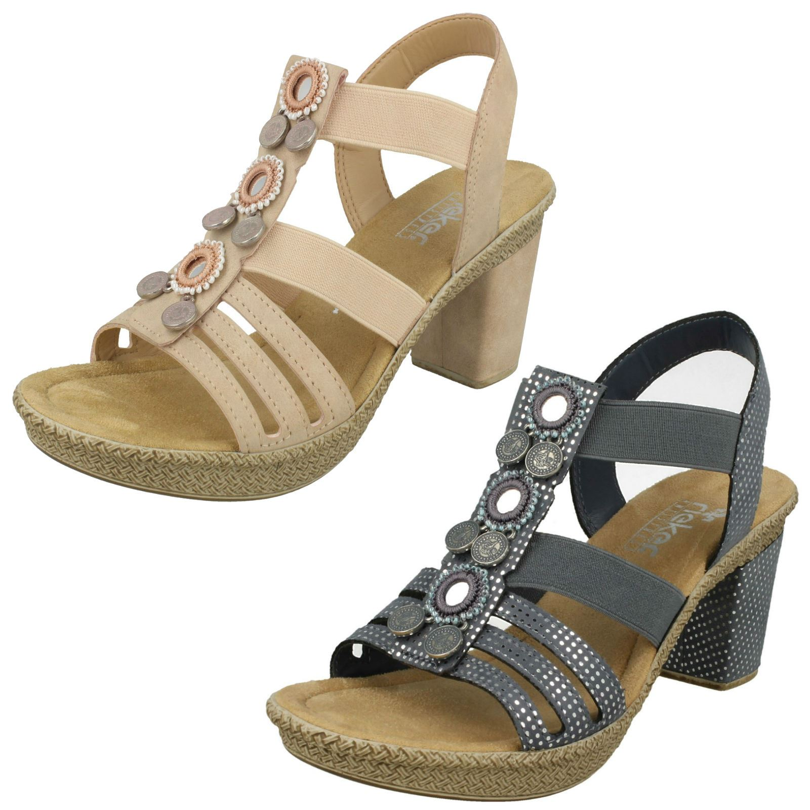741a3cd0461c2 Image is loading Rieker-Ladies-Slingback-Heeled-Sandals-66527