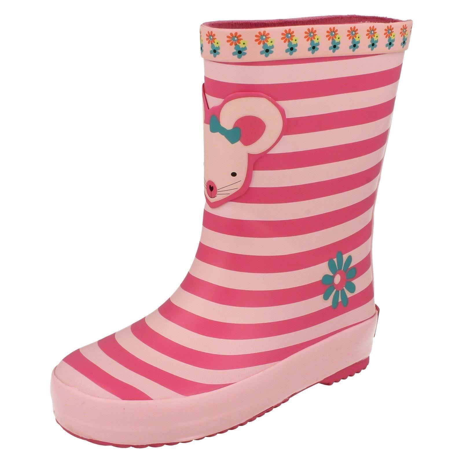 Girls Clarks Pull On Mouse Design Wellington Boots Tarri Candy