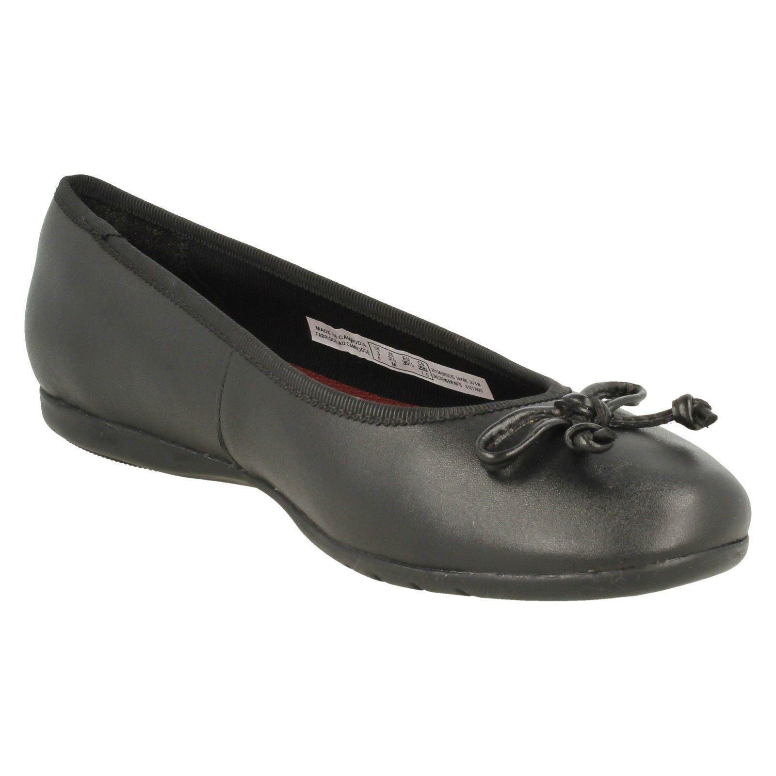 Shine' Clarks Bow Clarks On Slip Zapatos chicas Negro 'jesse para qRZxU77B