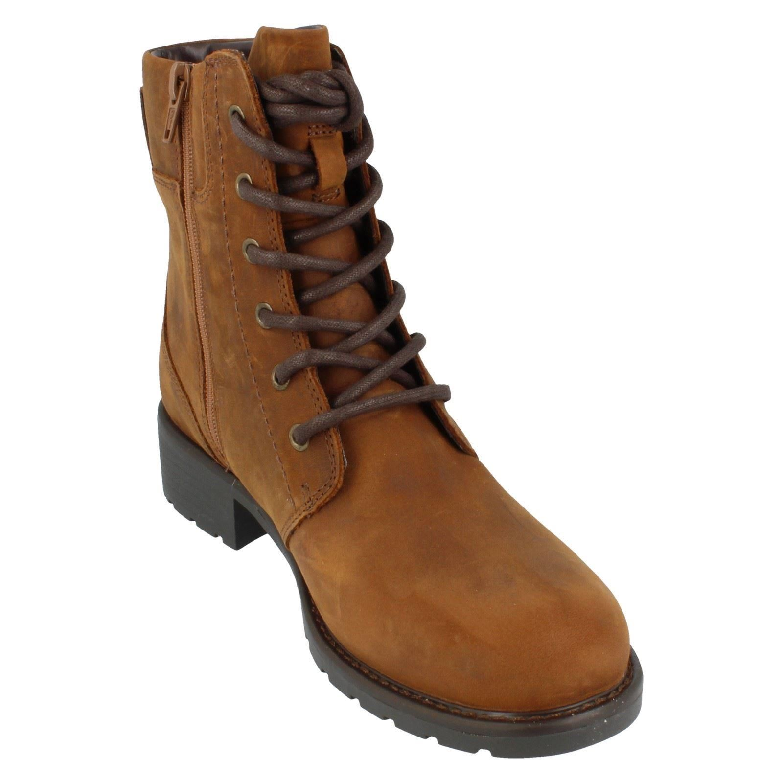Ladies-Clarks-Casual-Lace-Up-Inside-Zip-Nubuck-Leather-Ankle-Boots-Orinoco-Spice thumbnail 17