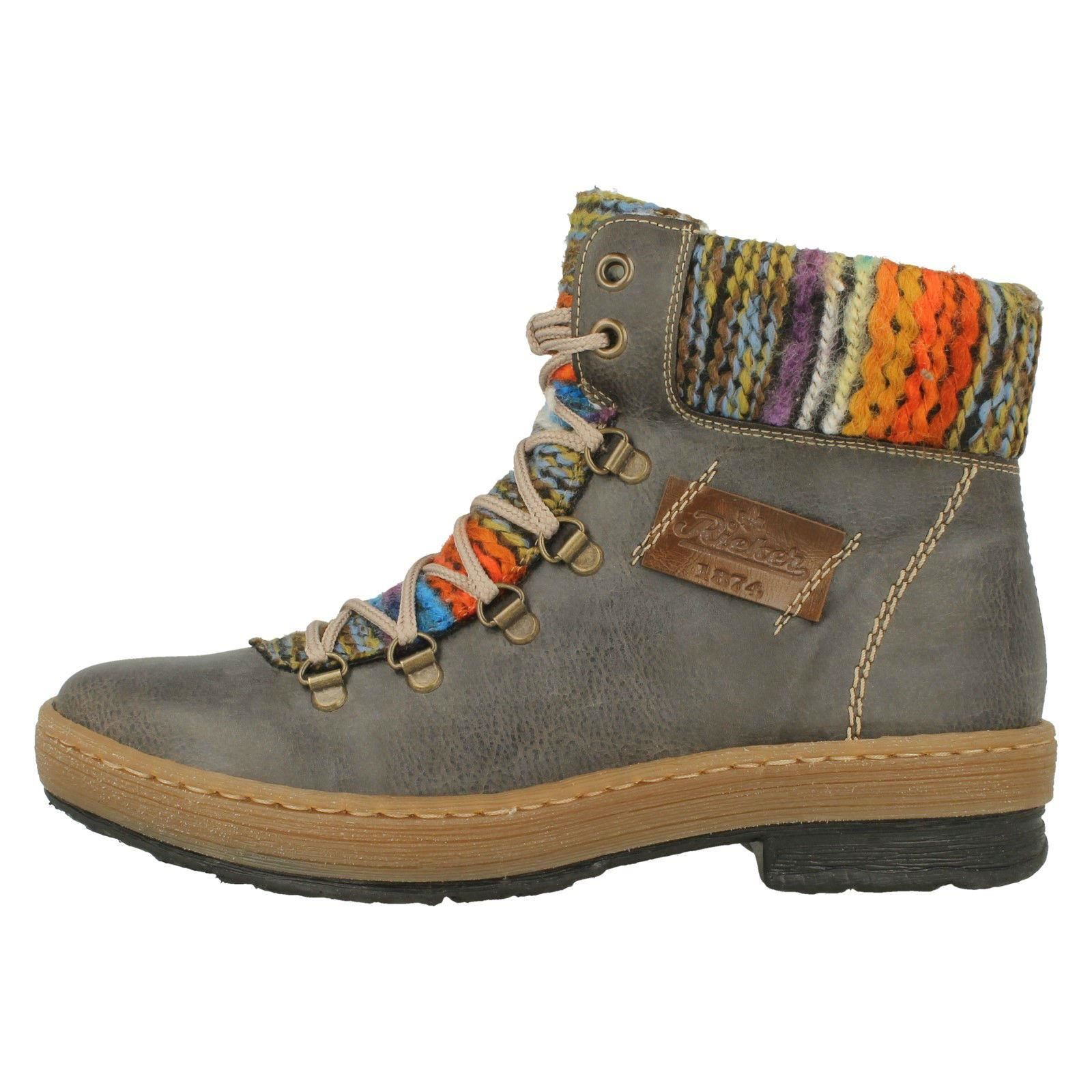 Ladies Casual Rieker Casual Ladies Knitted Trim Ankle Boots Z6743 1de0f4