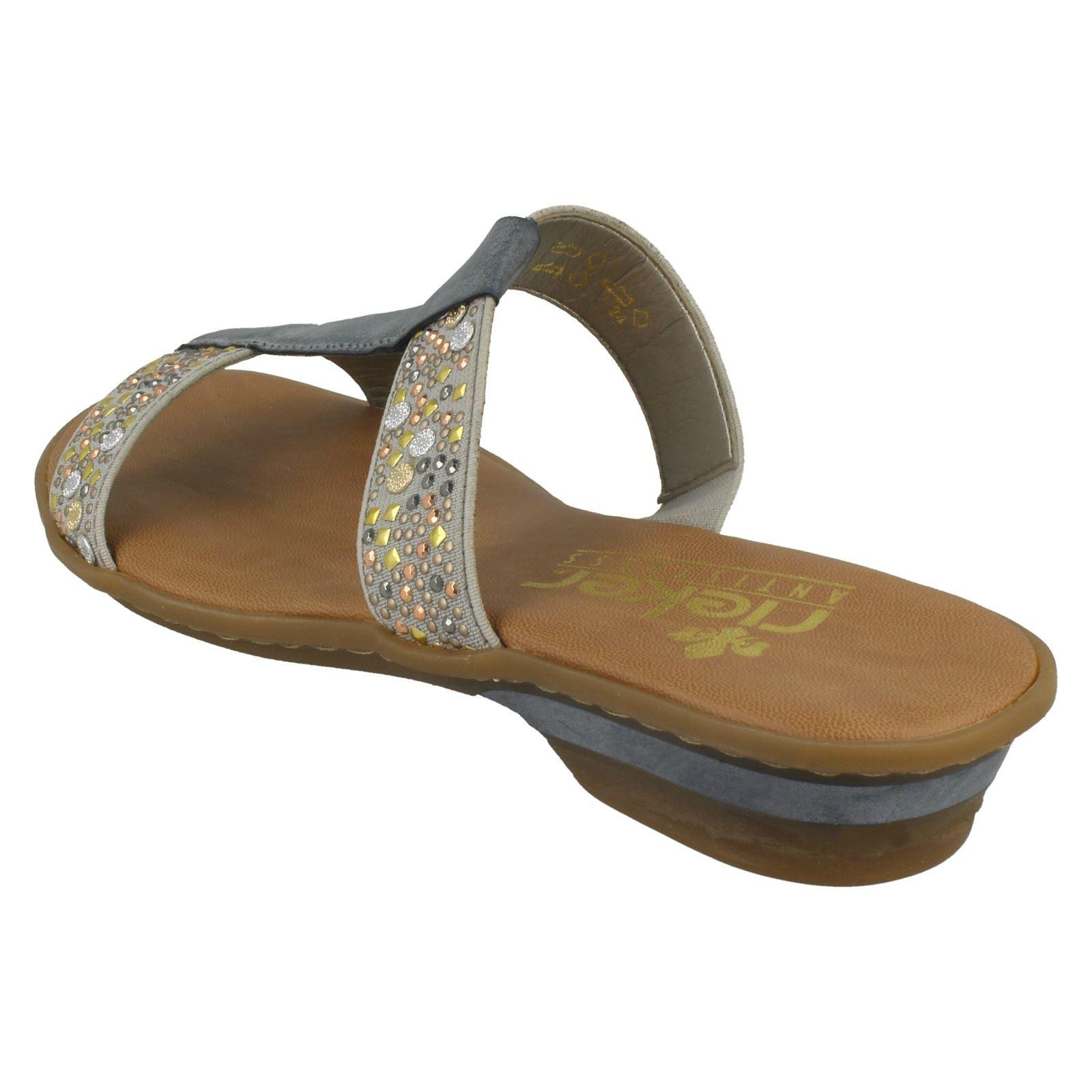 Toe Mule Rieker Synthetic Slip Casual Jewelled Sandals On Open Ladies 63454 Grey wOgHqg