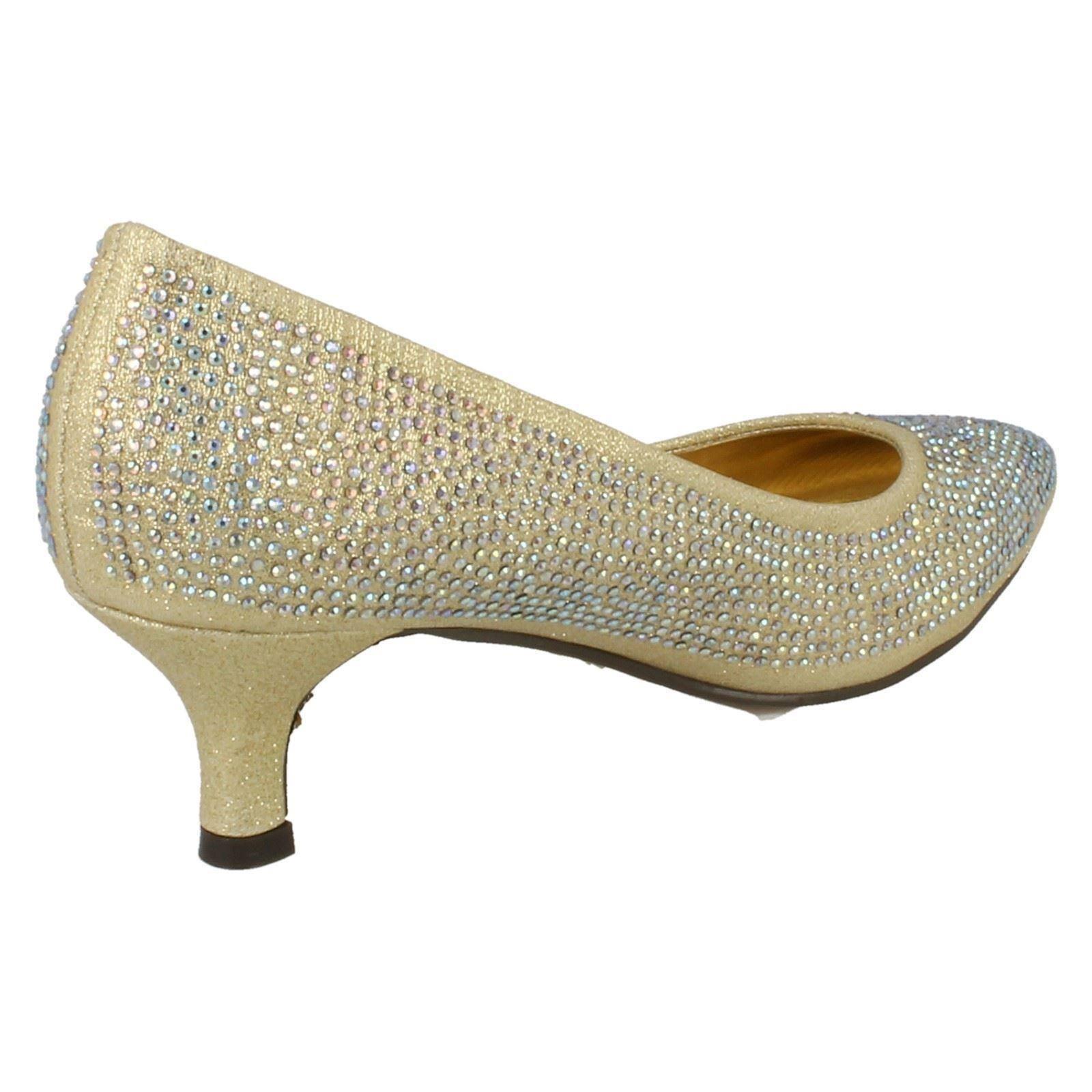 Ladies-Anne-Michelle-Diamante-Low-Heel-Court-Shoes thumbnail 12