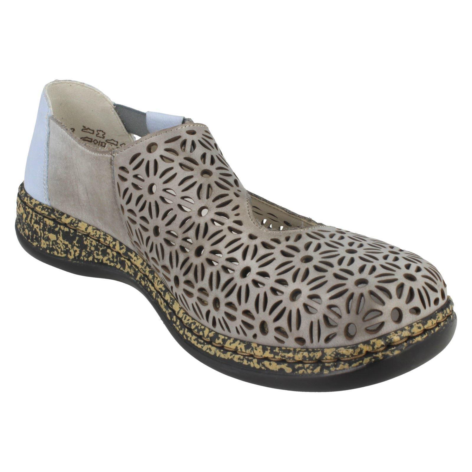 Elasticated Shoes Casual Rieker 46375 On Flat Blu Ladies Slip qYvRX55