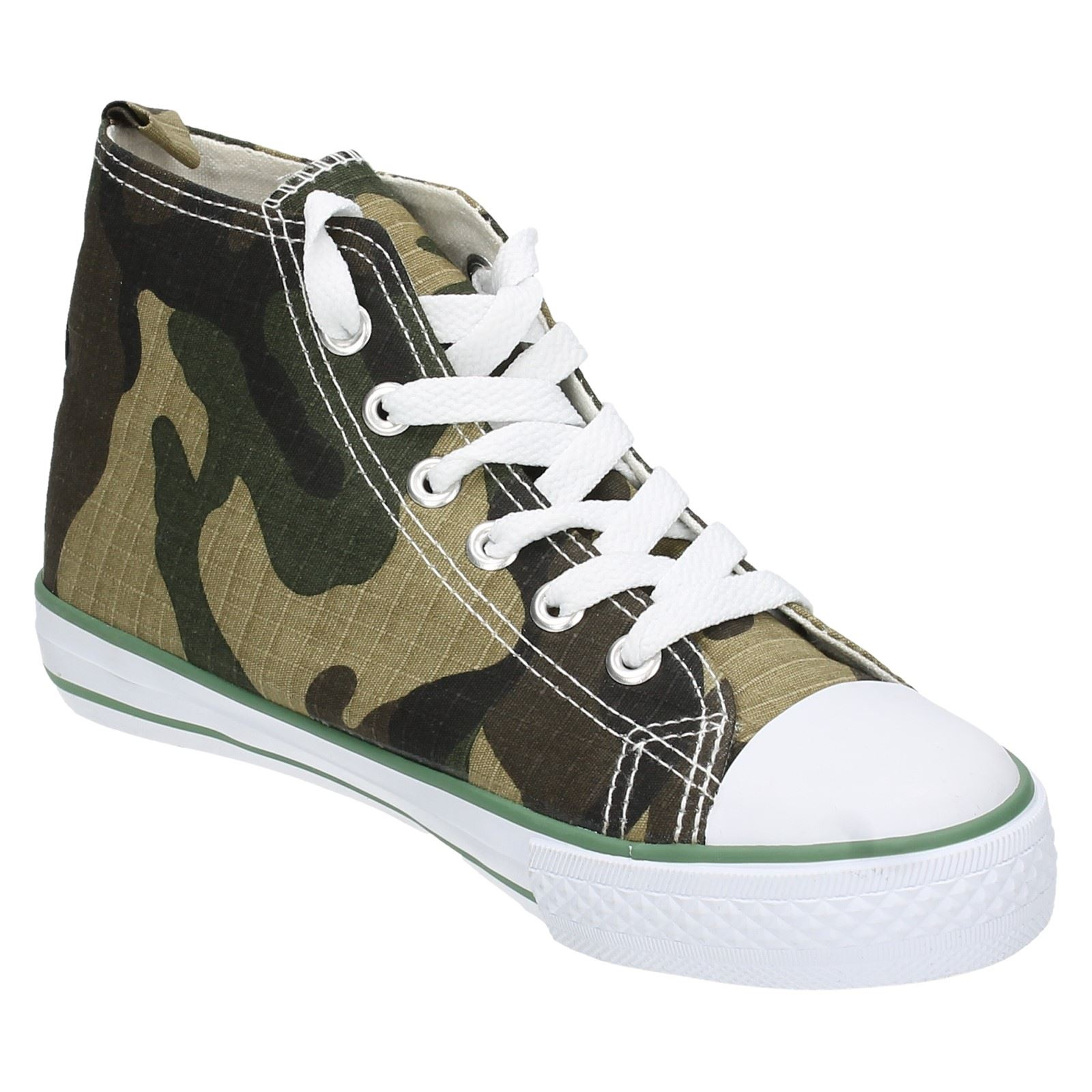 Boys JCDees Rounded Toe Camouflage Lace Up Canvas Shoes