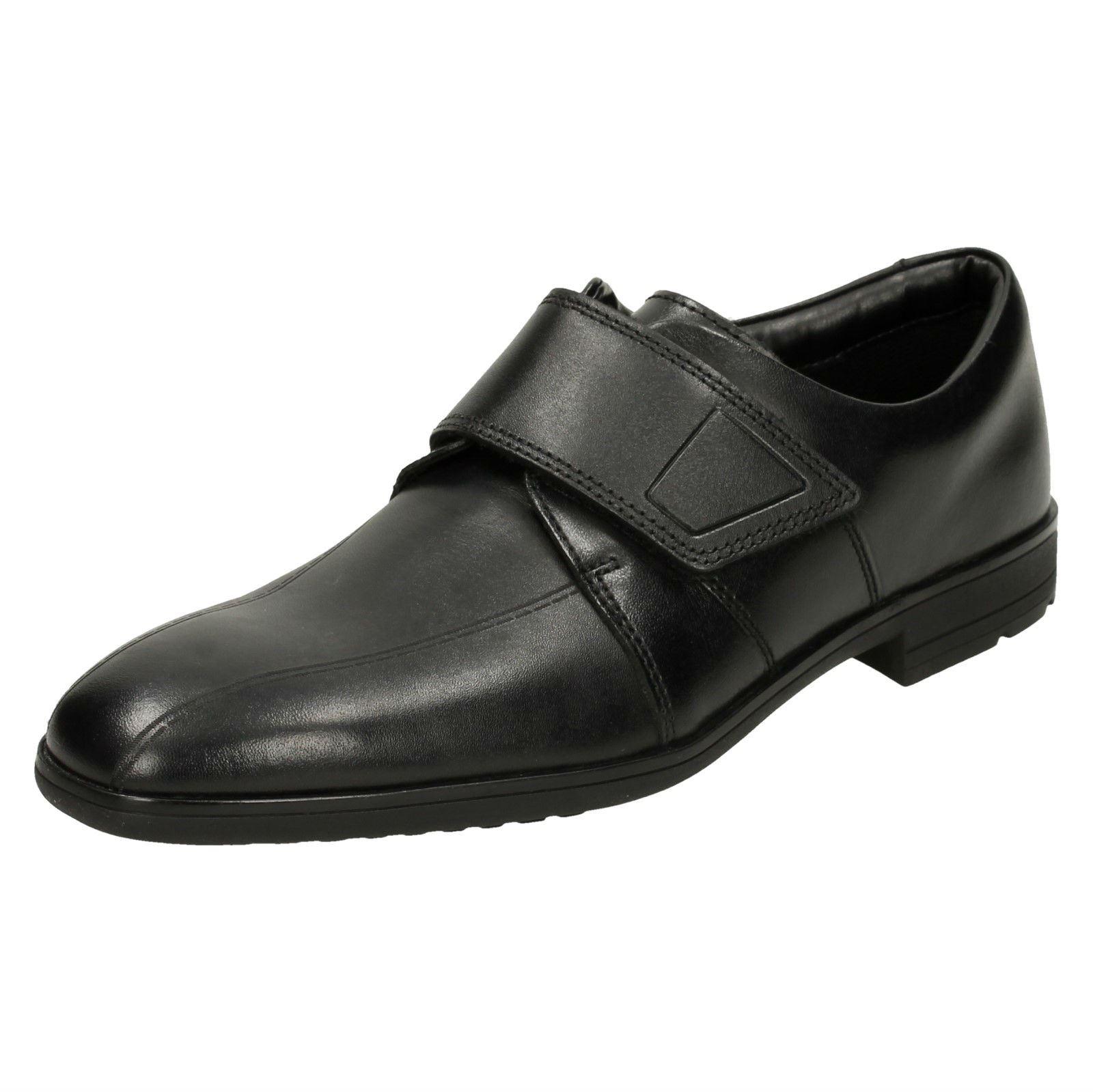 Boys Clarks Bootleg Hook /& Loop Leather Smart School Shoes Willis Time