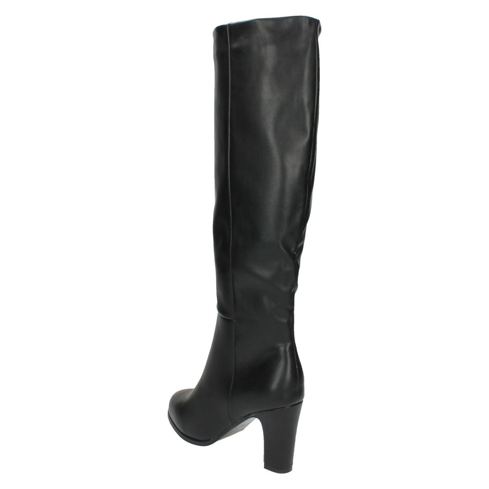 Punto de tacón señoras de la rodilla Botas altas F50554