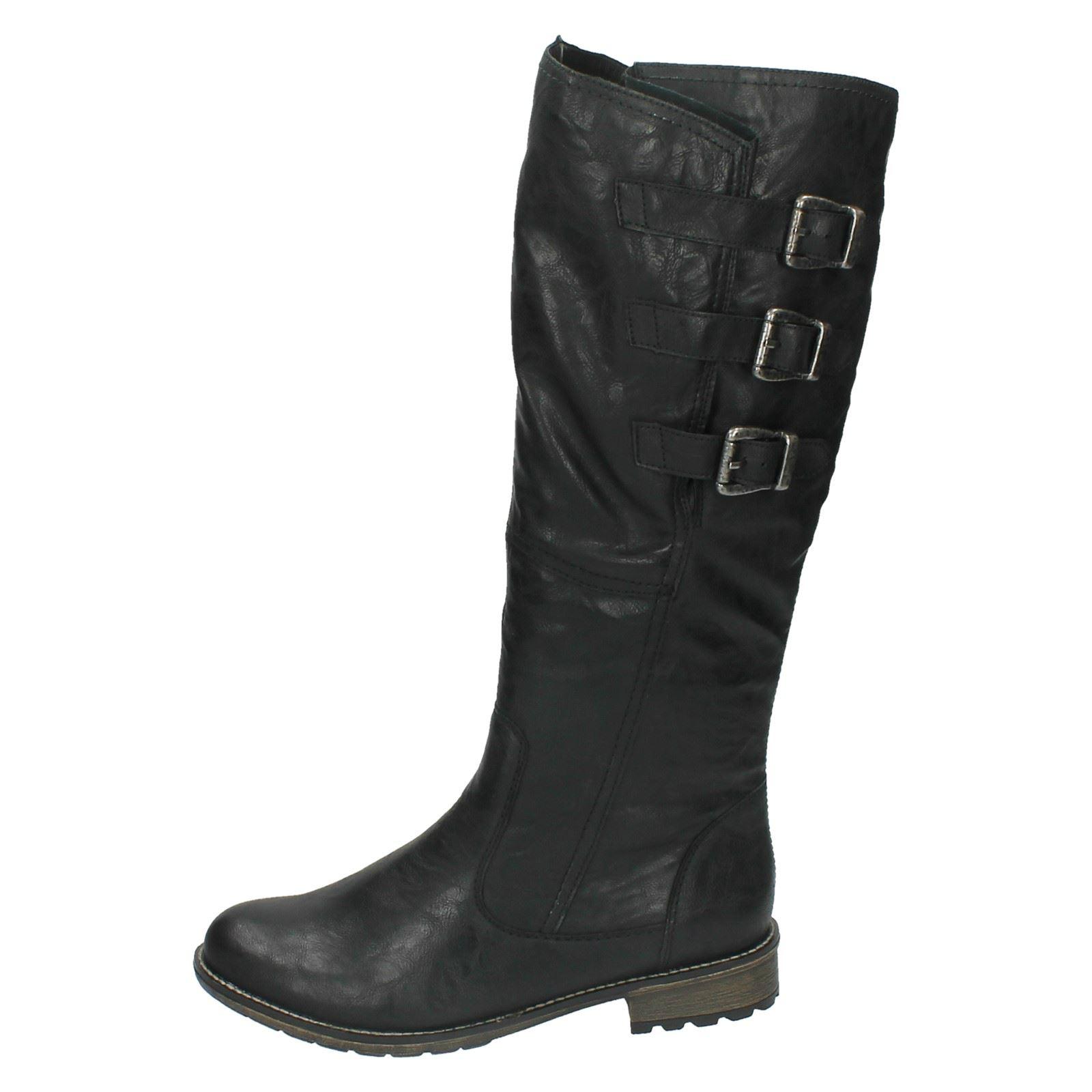 Biker Zip R3370 Ladies Style Leg Black High Casual Boots Synthetic Remonte pCxaC6qR