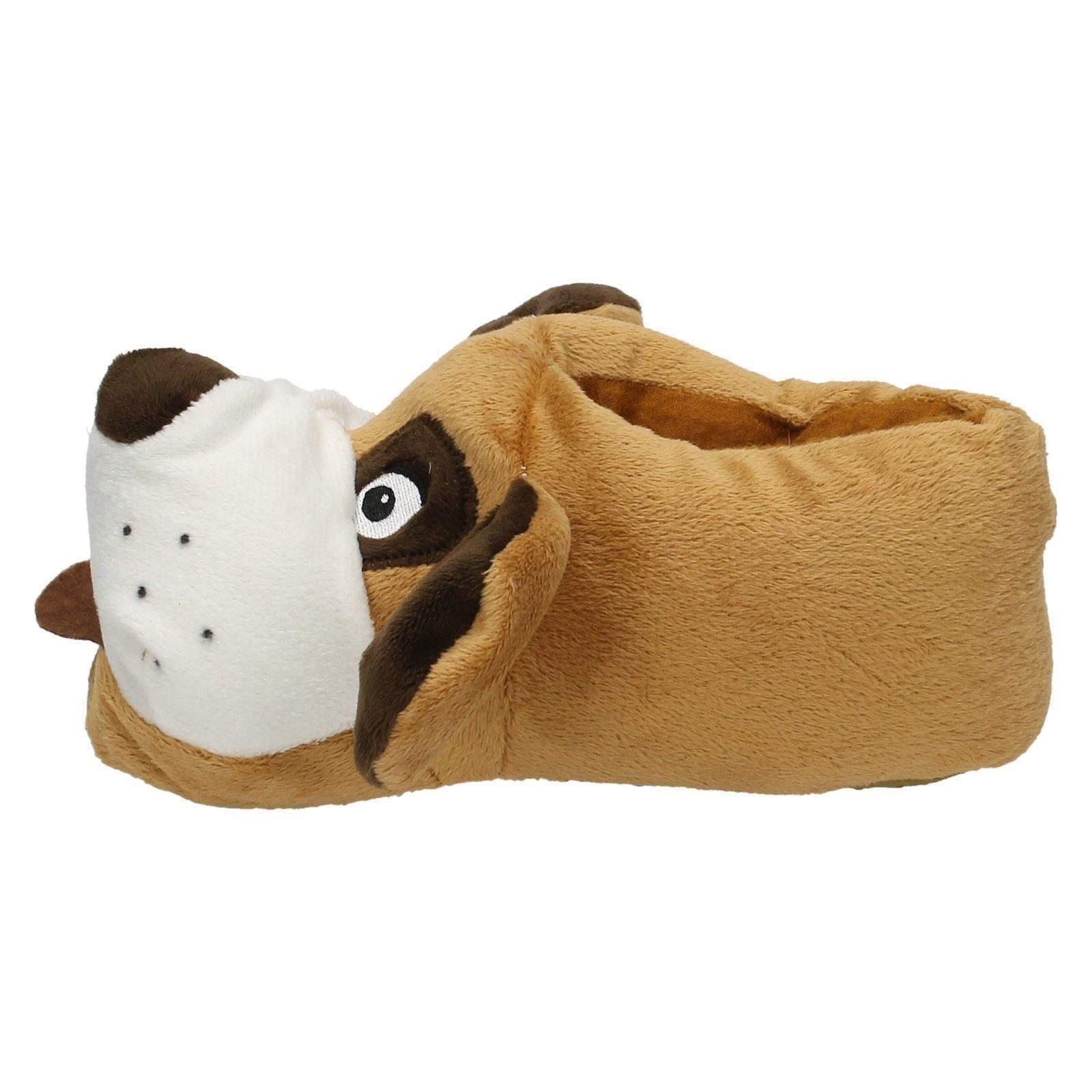 Unisex Boys Girls Kids Junior Spot On Flat Novelty 3D Soft Dog Slippers - X2073
