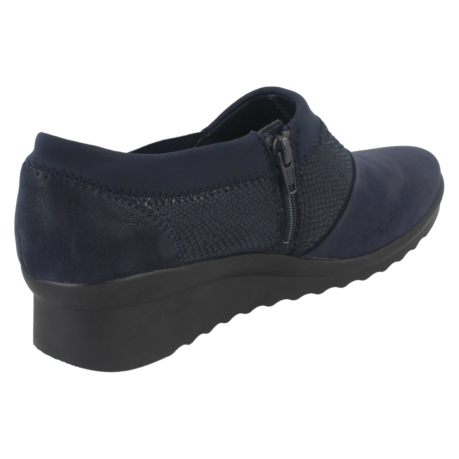 Clarks Ladies Cloudsteppers Cushion Soft Wedge Heeled Shoes - Caddell Denali