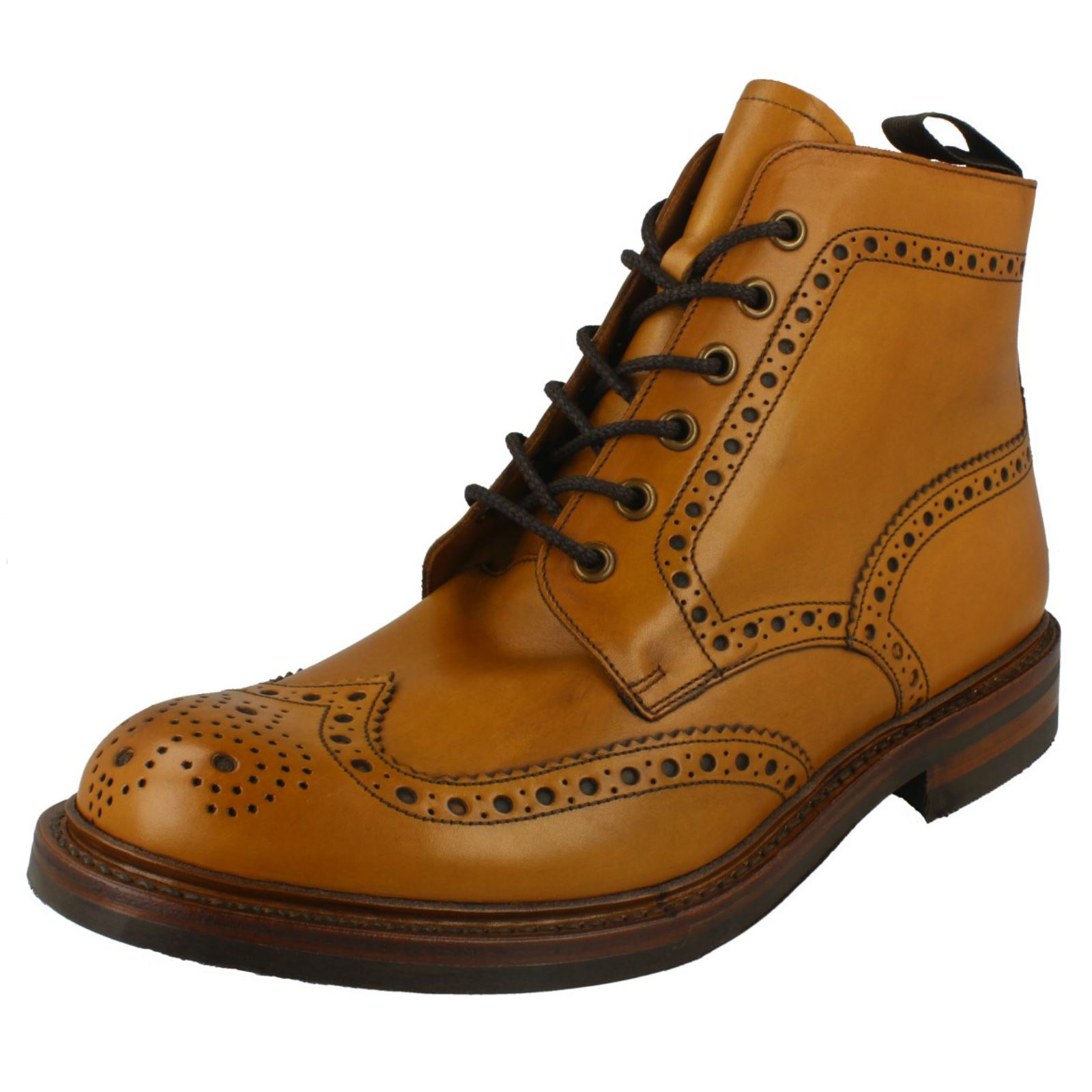 Loake Mens Brogue Lace Up Boots Bedale