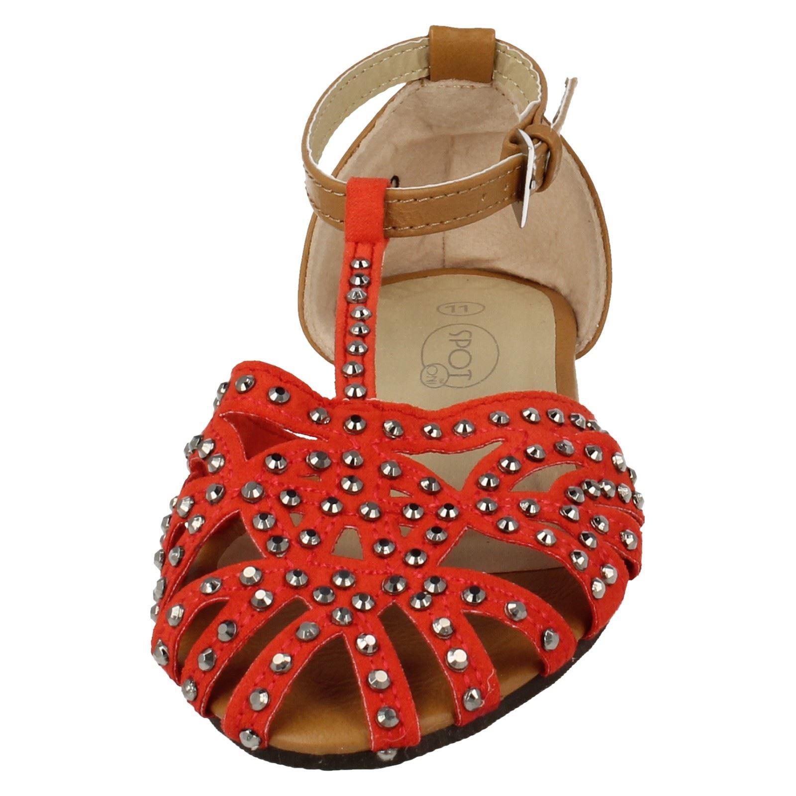 Girls Spot On T-Bar Diamonte Sandals H0120