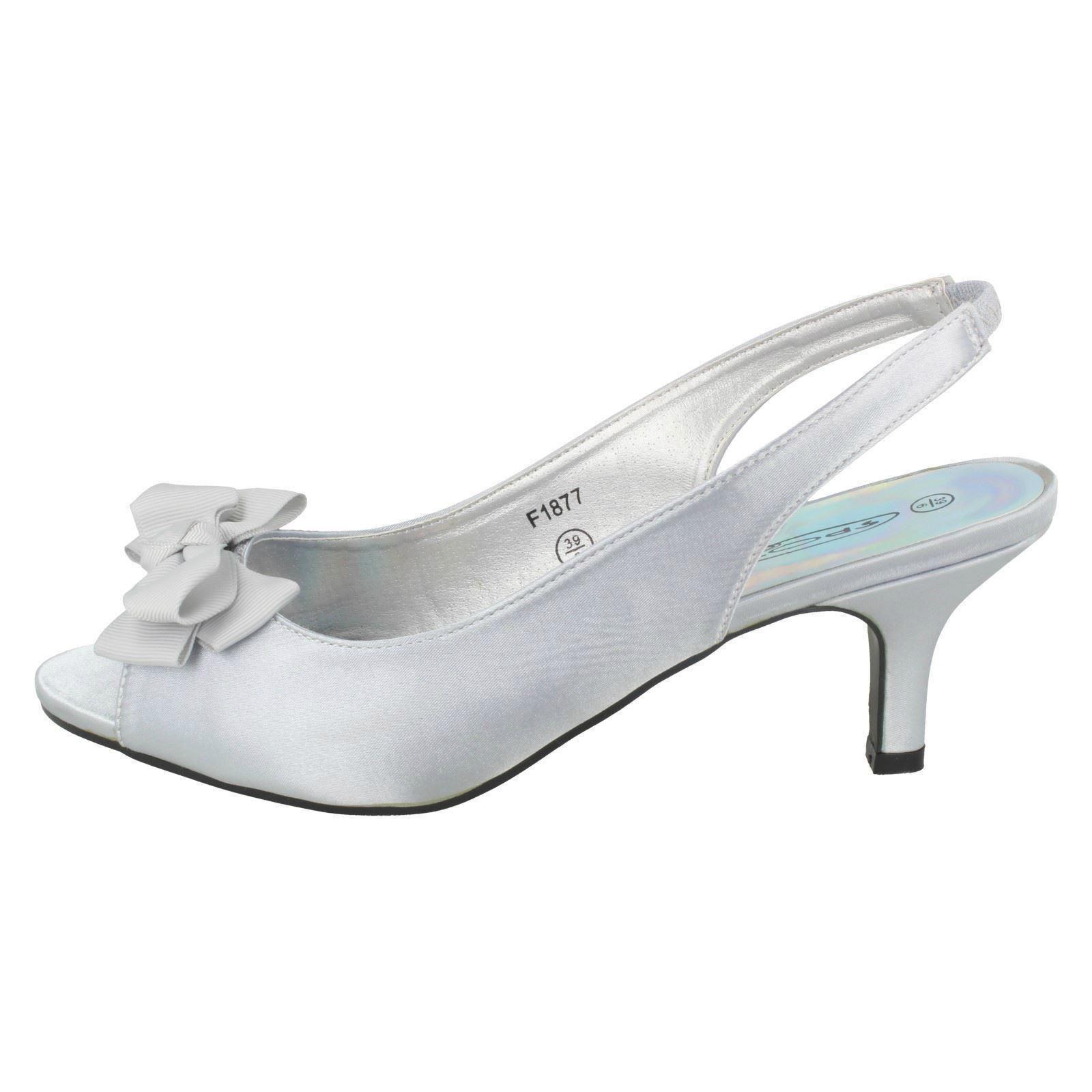 Ladies-Spot-On-Satin-Slip-On-Slingback-Heeled-Sandals