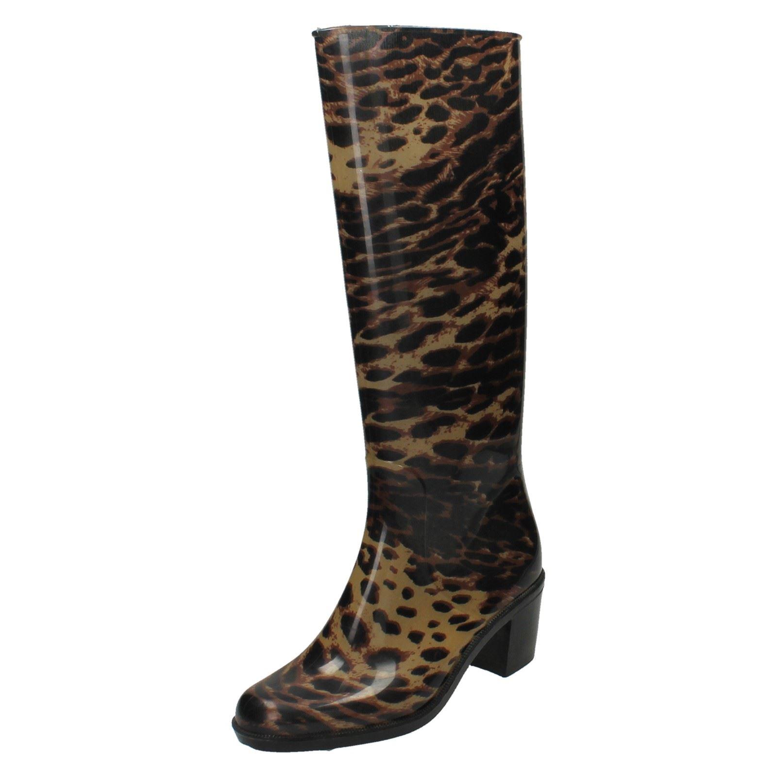 Mujer Spot On Estampado Leopardo Botas De Agua