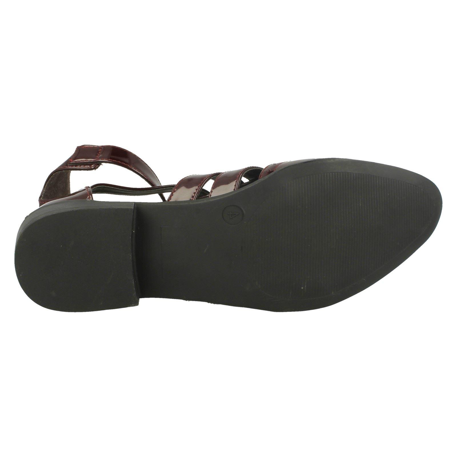 Spot On QT216 Ladies Dark Brown Open Toe Shoe UK4-6 R25A floor