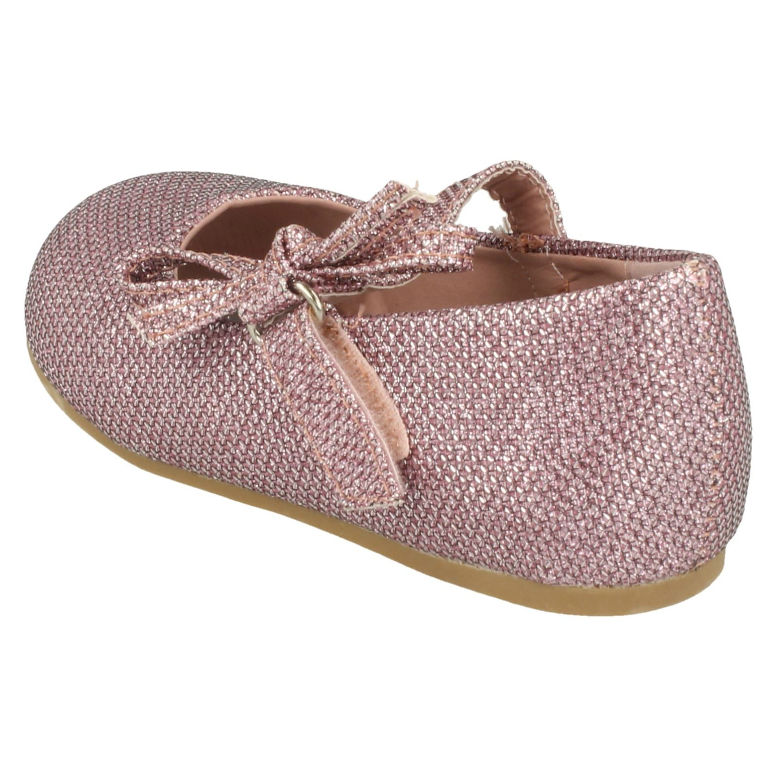 Girls Spot On Flat Shoe With Glitter Bow Decoration